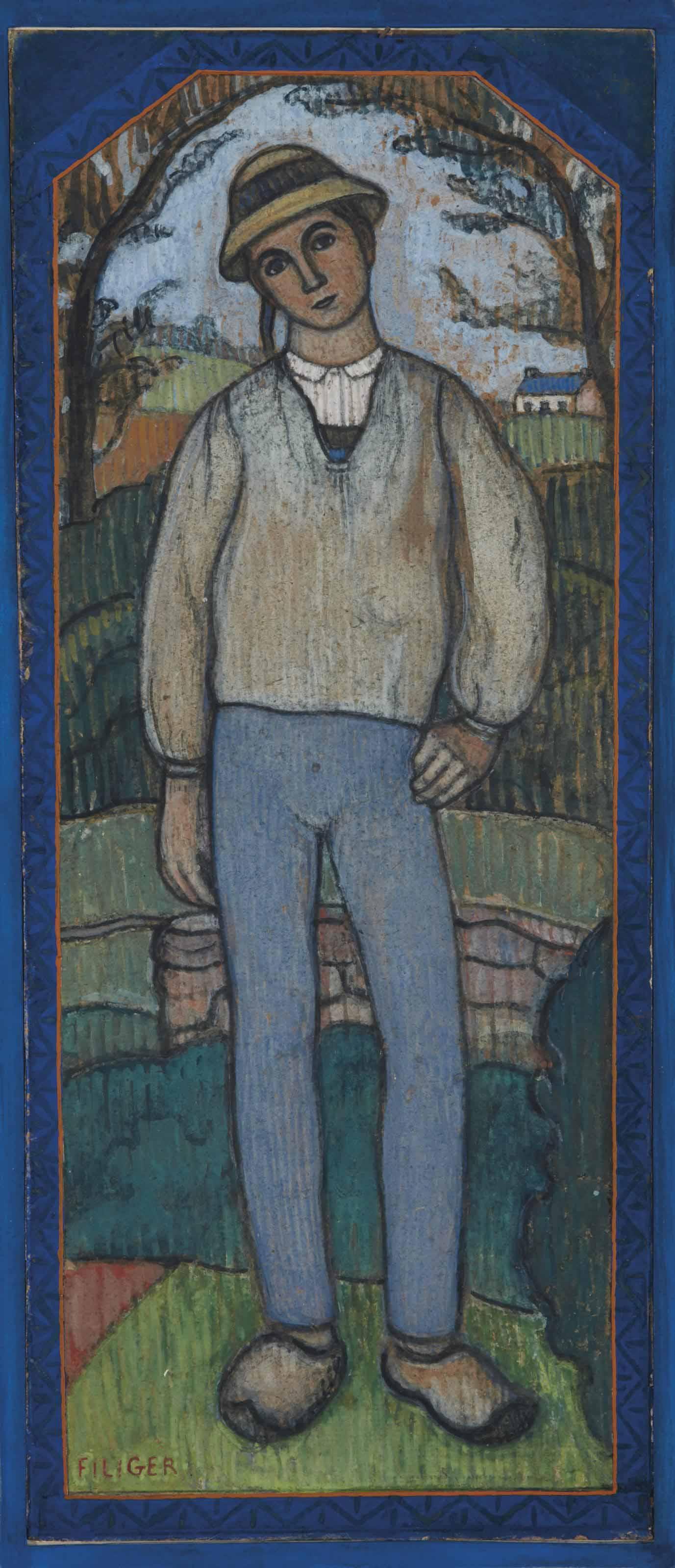 Berger au Pouldu ou Jeune breton aux sabots
