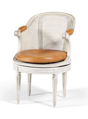 fauteuil de bureau d 39 epoque louis xvi estampille de martin nicolas delaporte dernier quart du. Black Bedroom Furniture Sets. Home Design Ideas