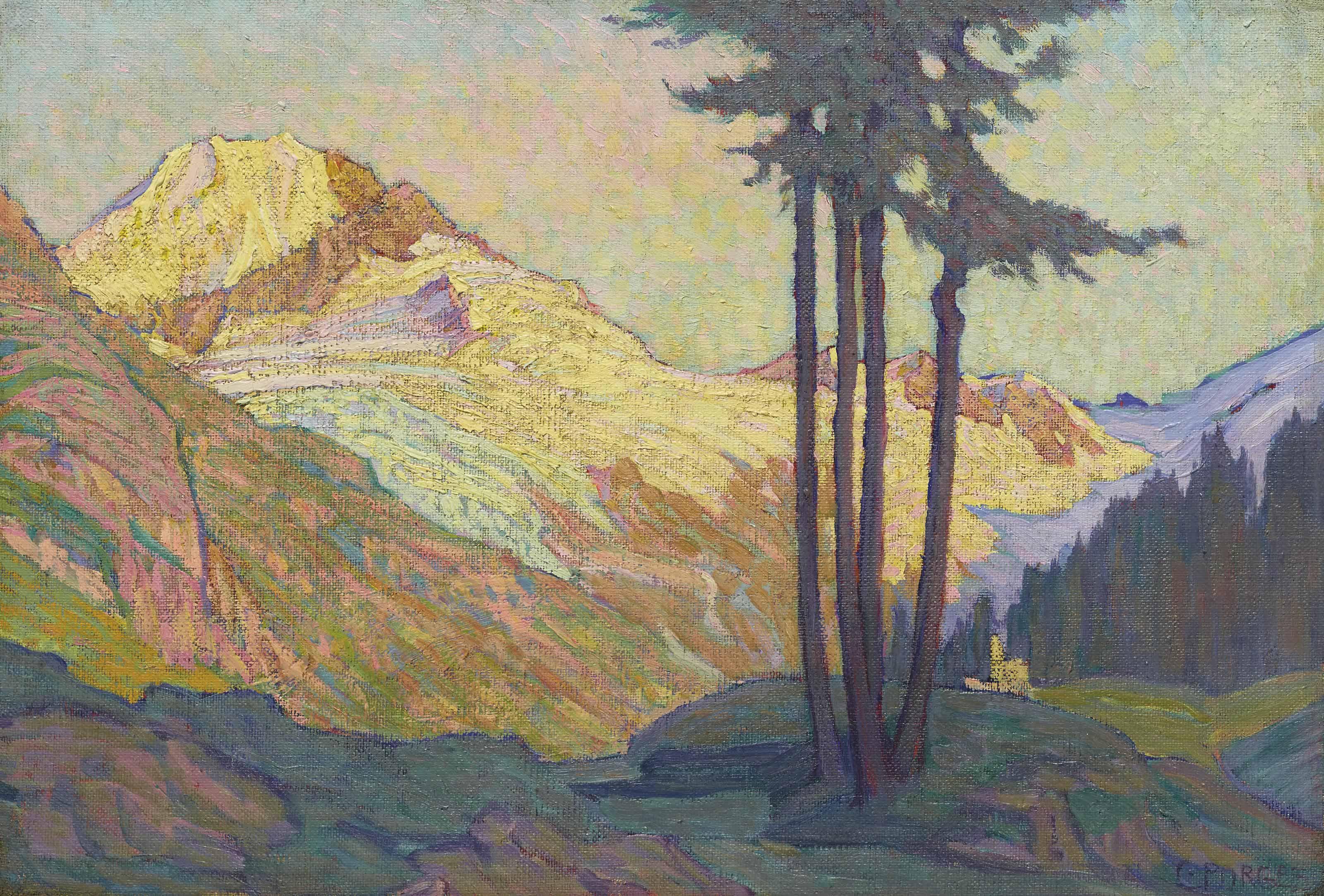 Tremotscha mit Gletscher (Fextal) Engadin, 1918