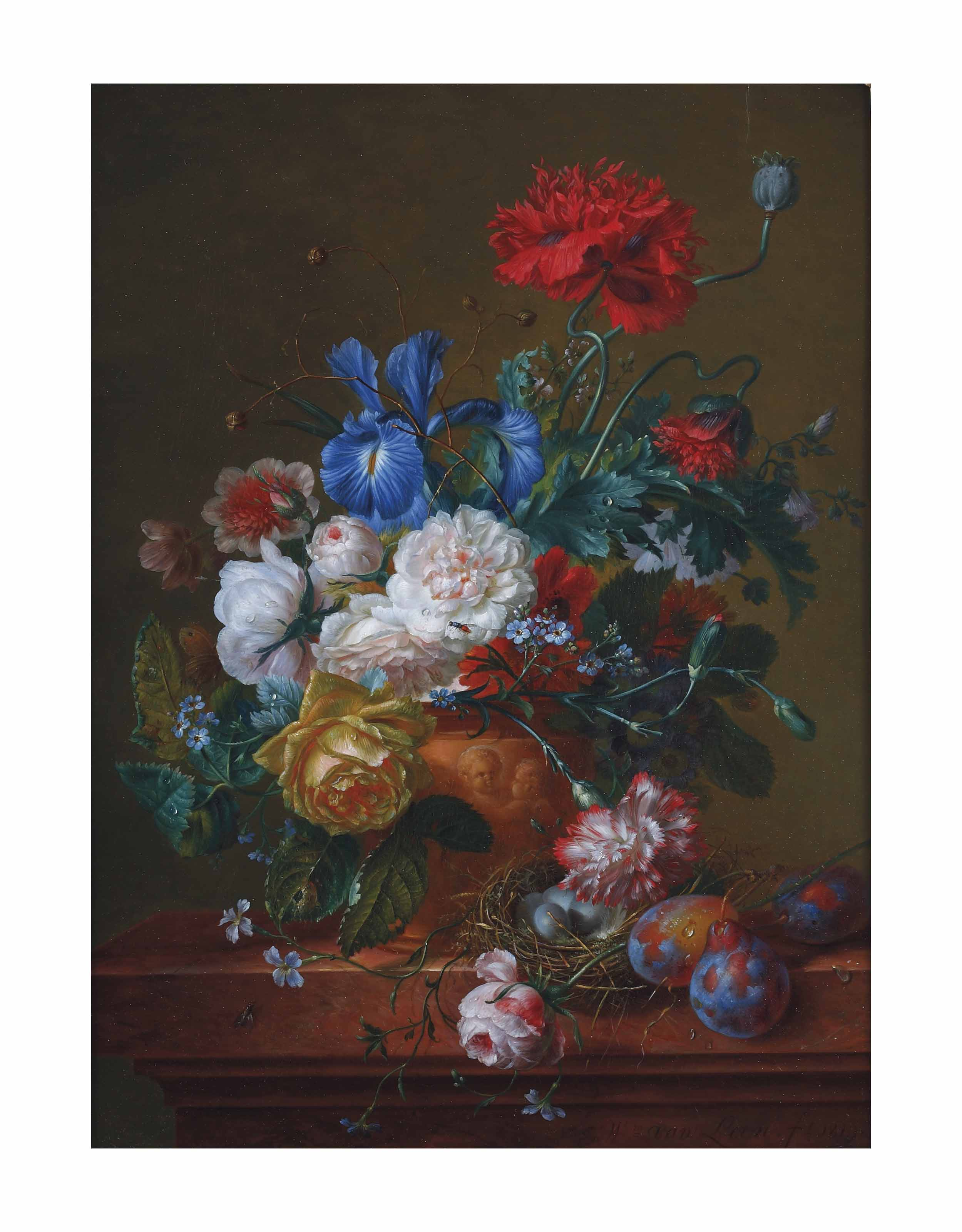 A bouquet of roses, poppies, forget-me-nots, irises and carnations in an earthenwear vase with prunes and a bird's nest on a ledge
