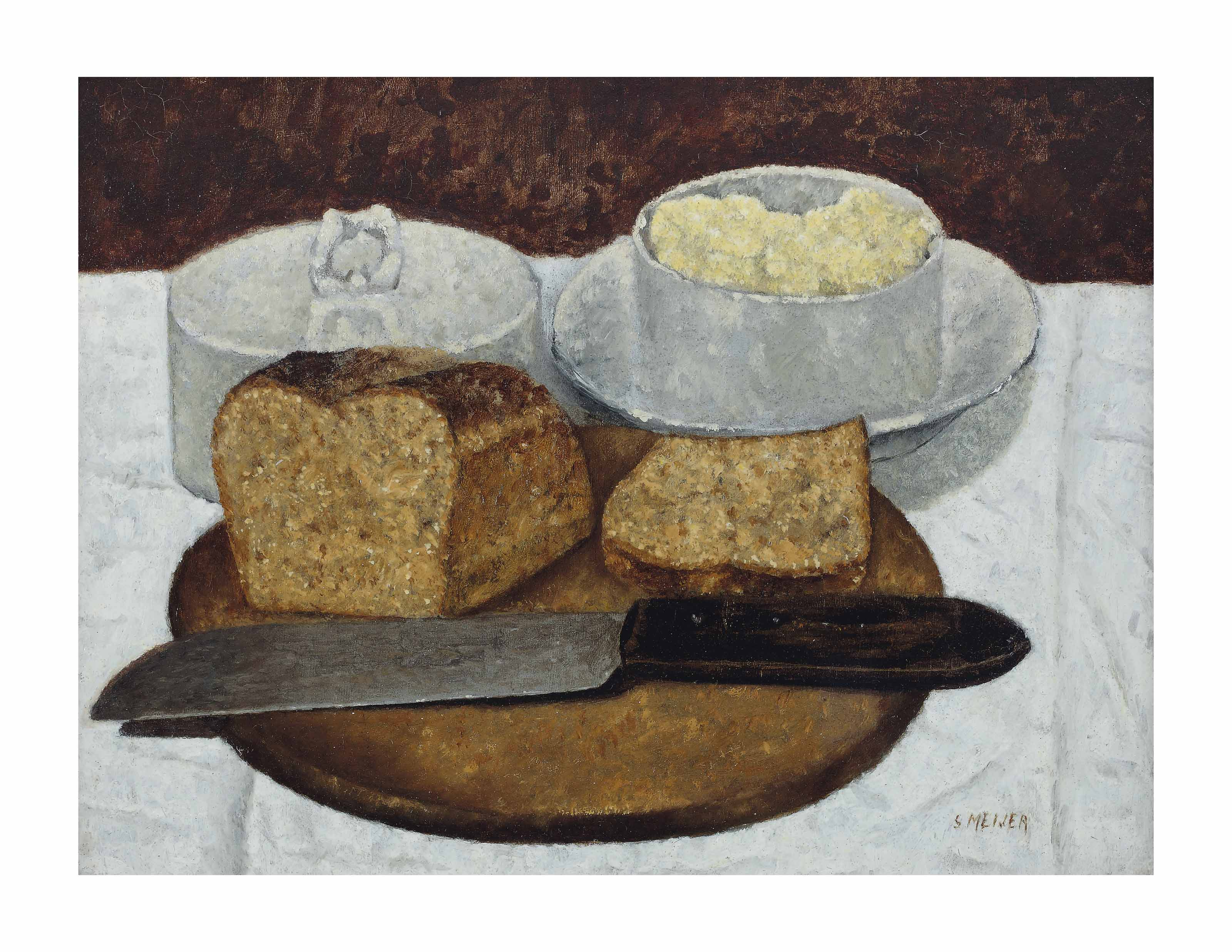 A still life with bread, butter and a knife