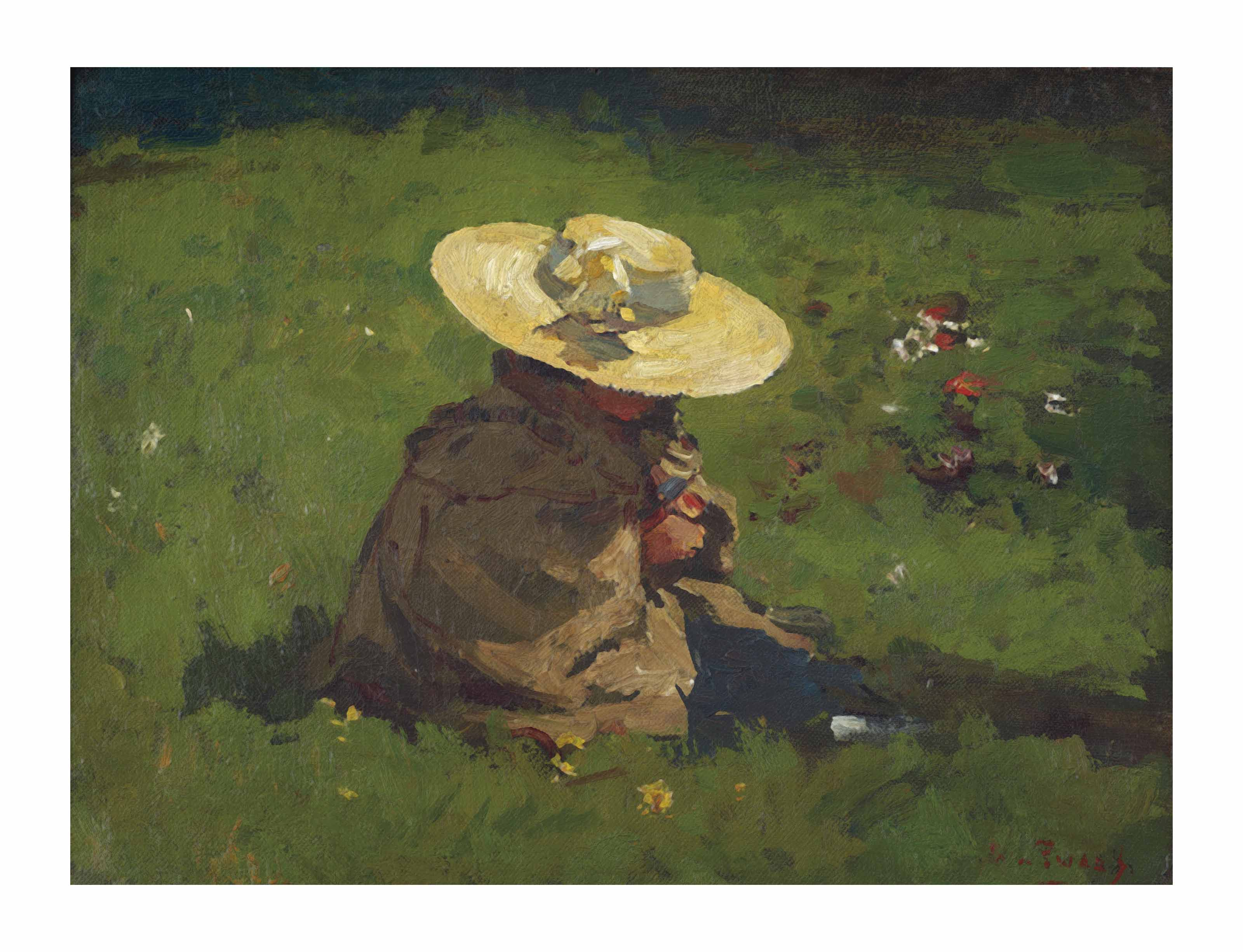 Marietje in het gras: the daughter of the artist with a straw head