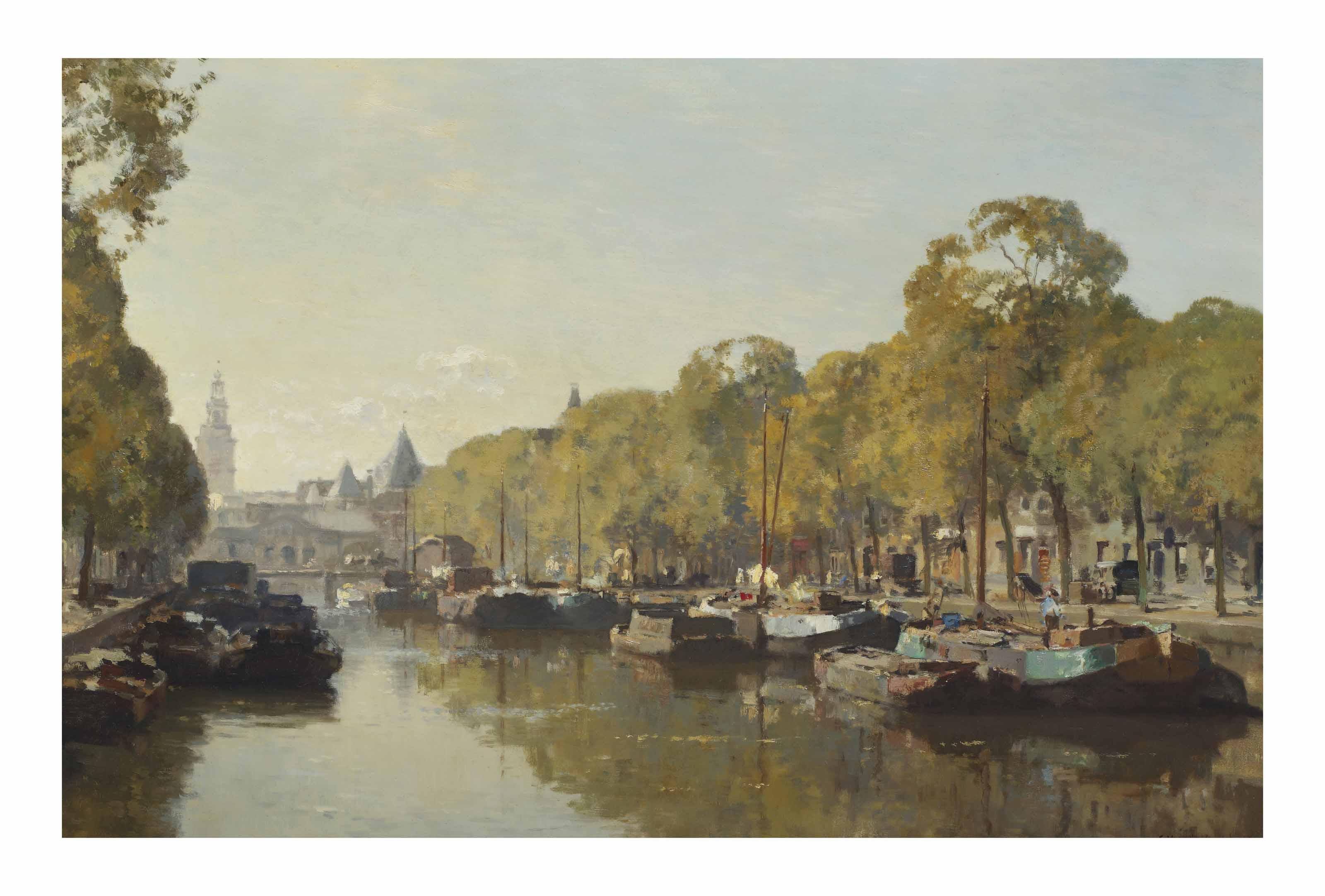 A view on the Geldersekade with the Nieuwmarkt in the distance, Amsterdam