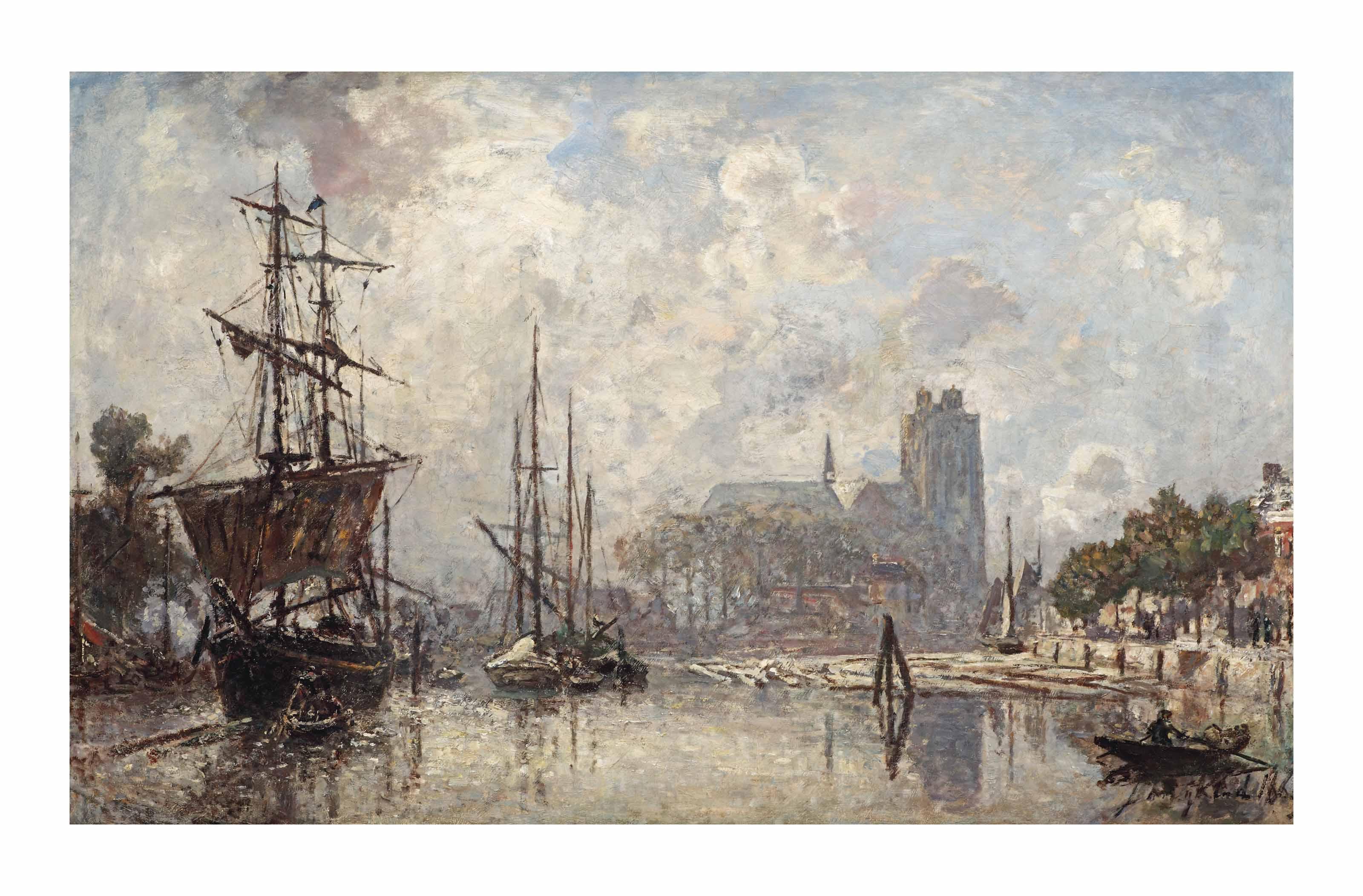 Le port de Dordrecht, temps brumeux