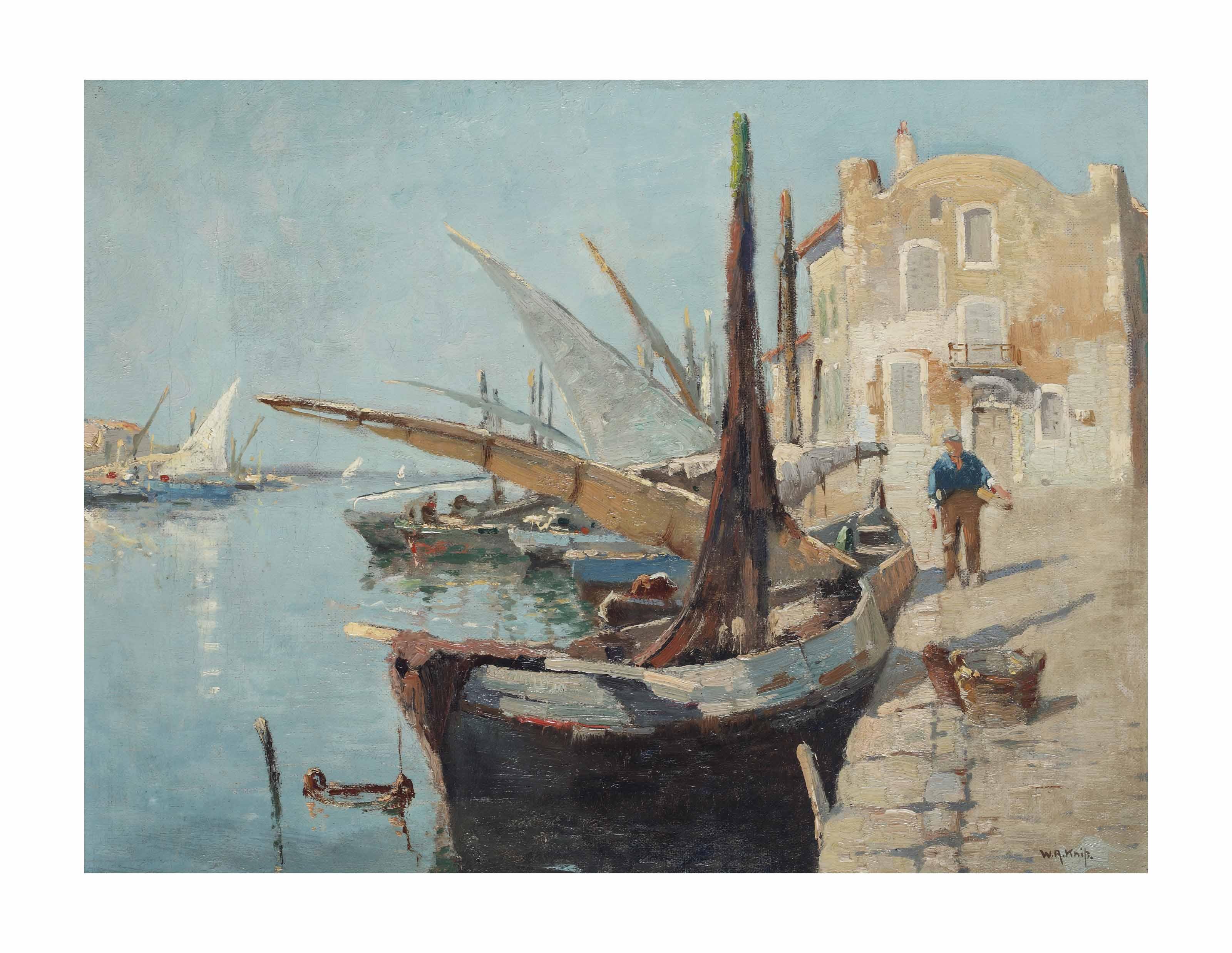 Fishermen on a sunlit quay on the Côte d'Azur