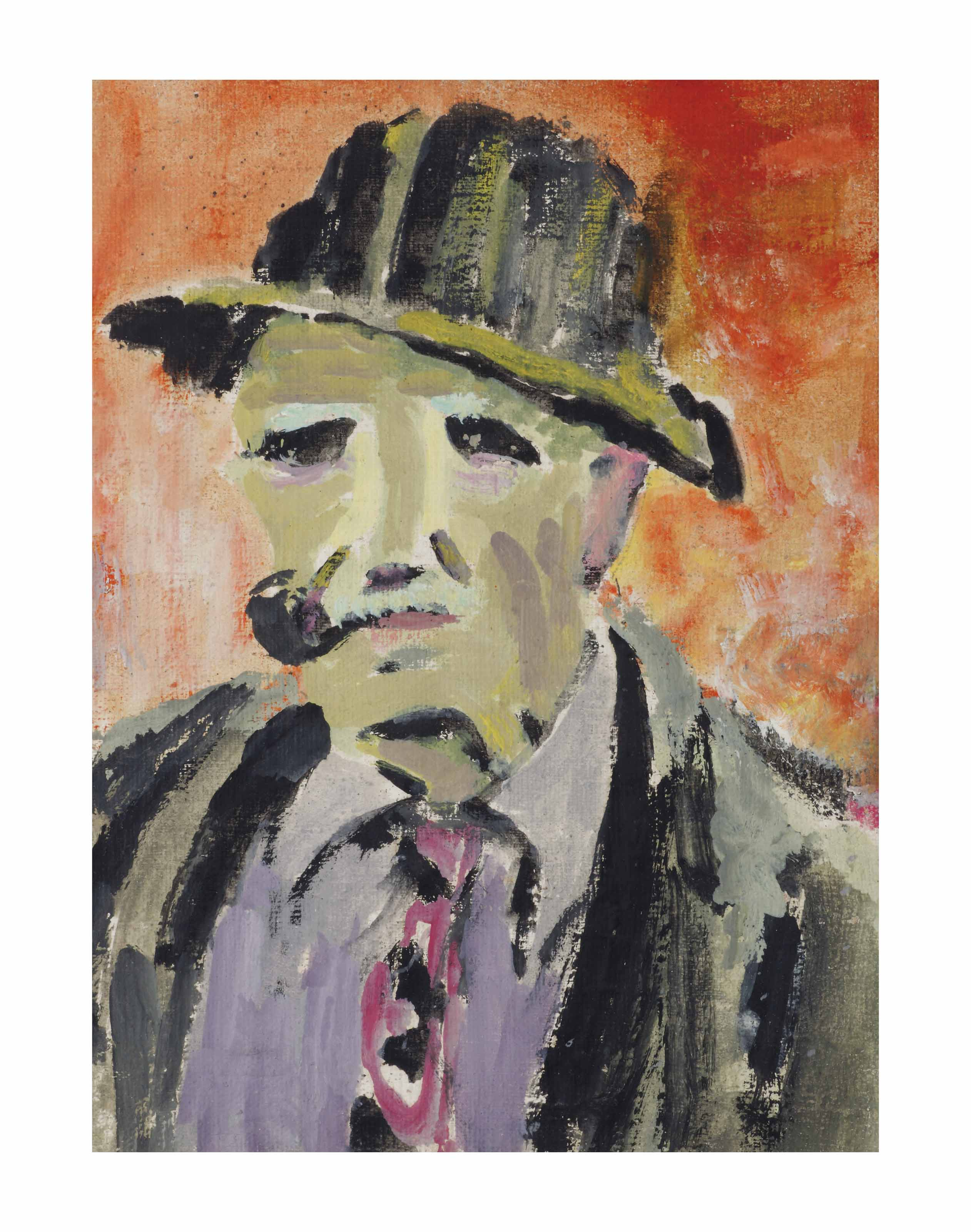 Portrait of a man smoking a pipe