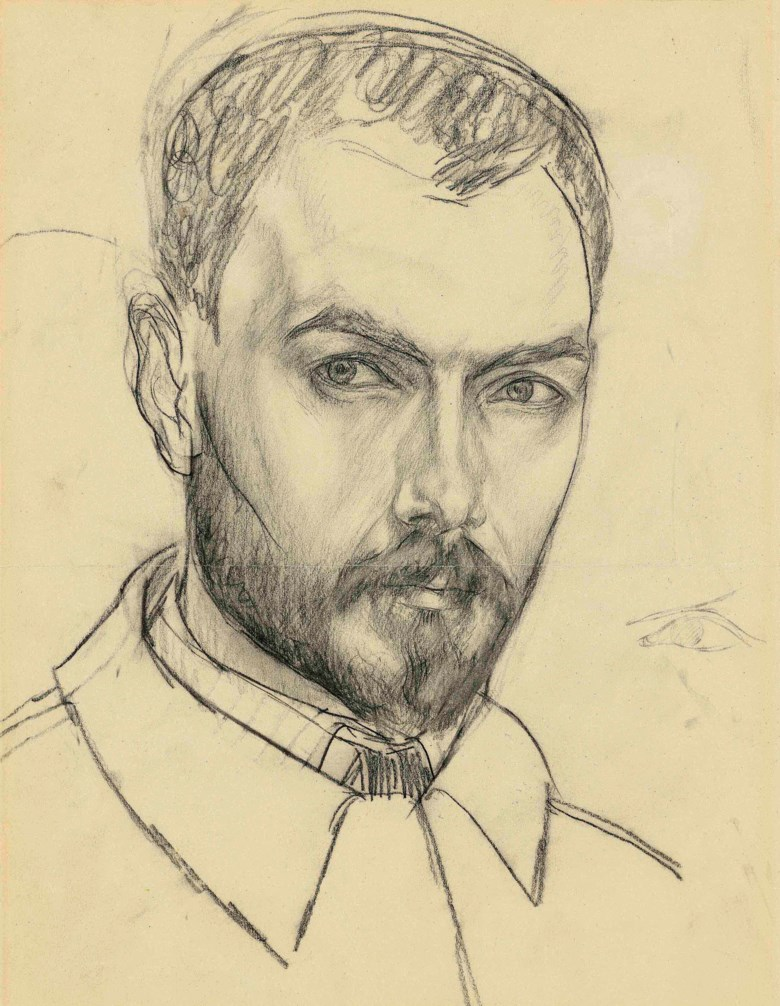 Kuzma Petrov-Vodkin (1878-1939), Self-portrait. Charcoal on paper. 15 x 11¾ in (38 x 30 cm). With a study for the present portrait on the reverse. This work was offered in the Russian Art auction on 5 June 2017 at Christie's in London and sold for £75,000