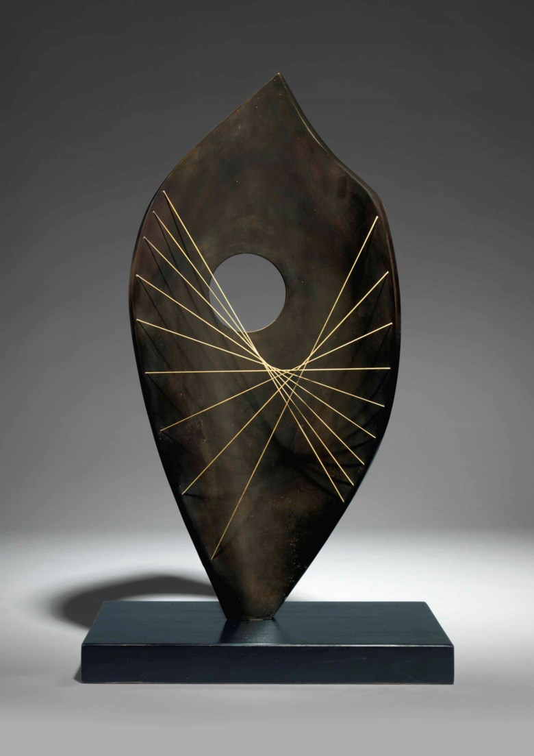 Dame Barbara Hepworth (1903-1975), Curved Form (Bryher). Conceived in 1961, and cast in an edition of 9. Bronze with a dark brown patina and string. Sold for £797,000 on 26 June 2017 at Christies London