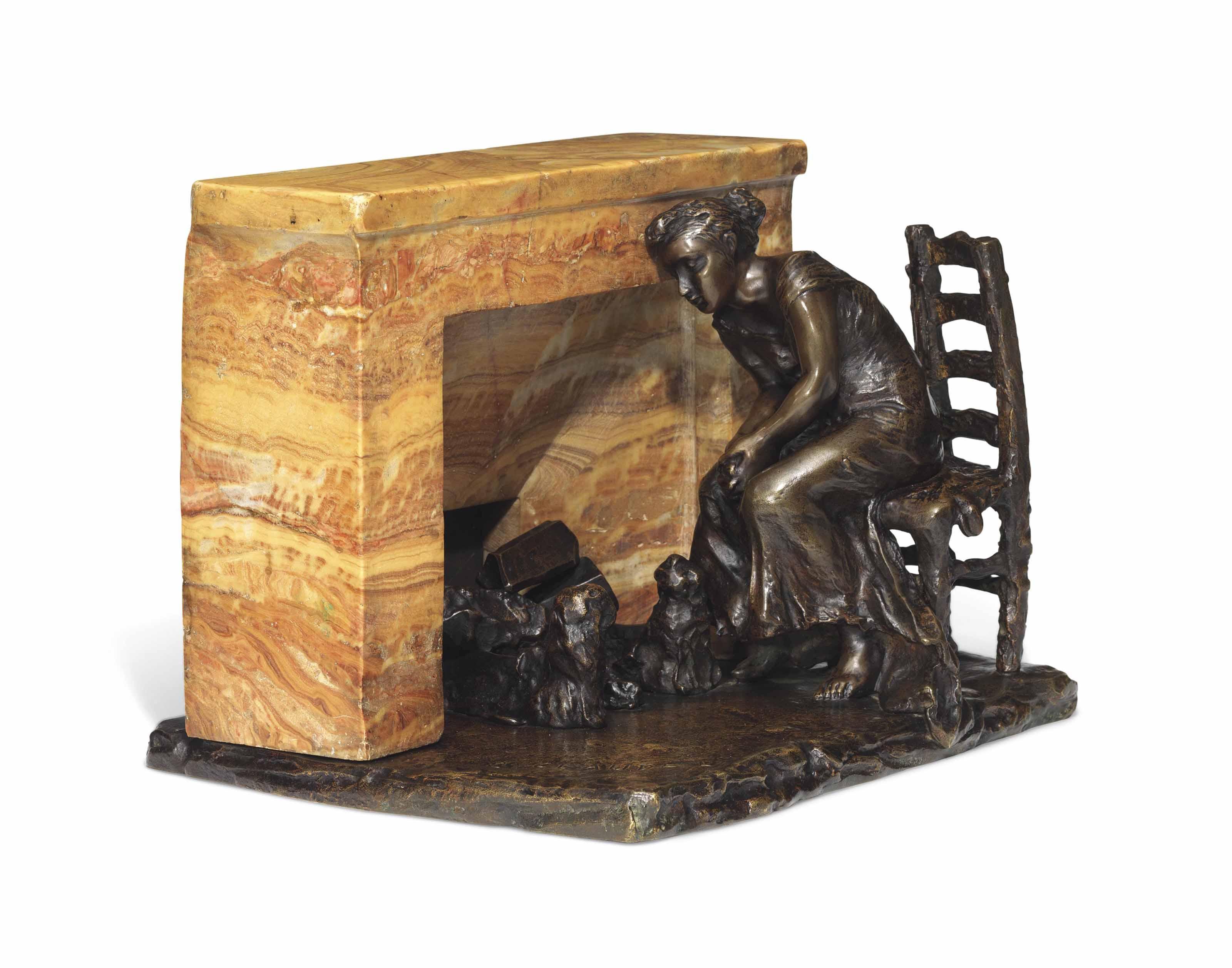 Rêve au coin du feu or Femme assise devant une cheminée