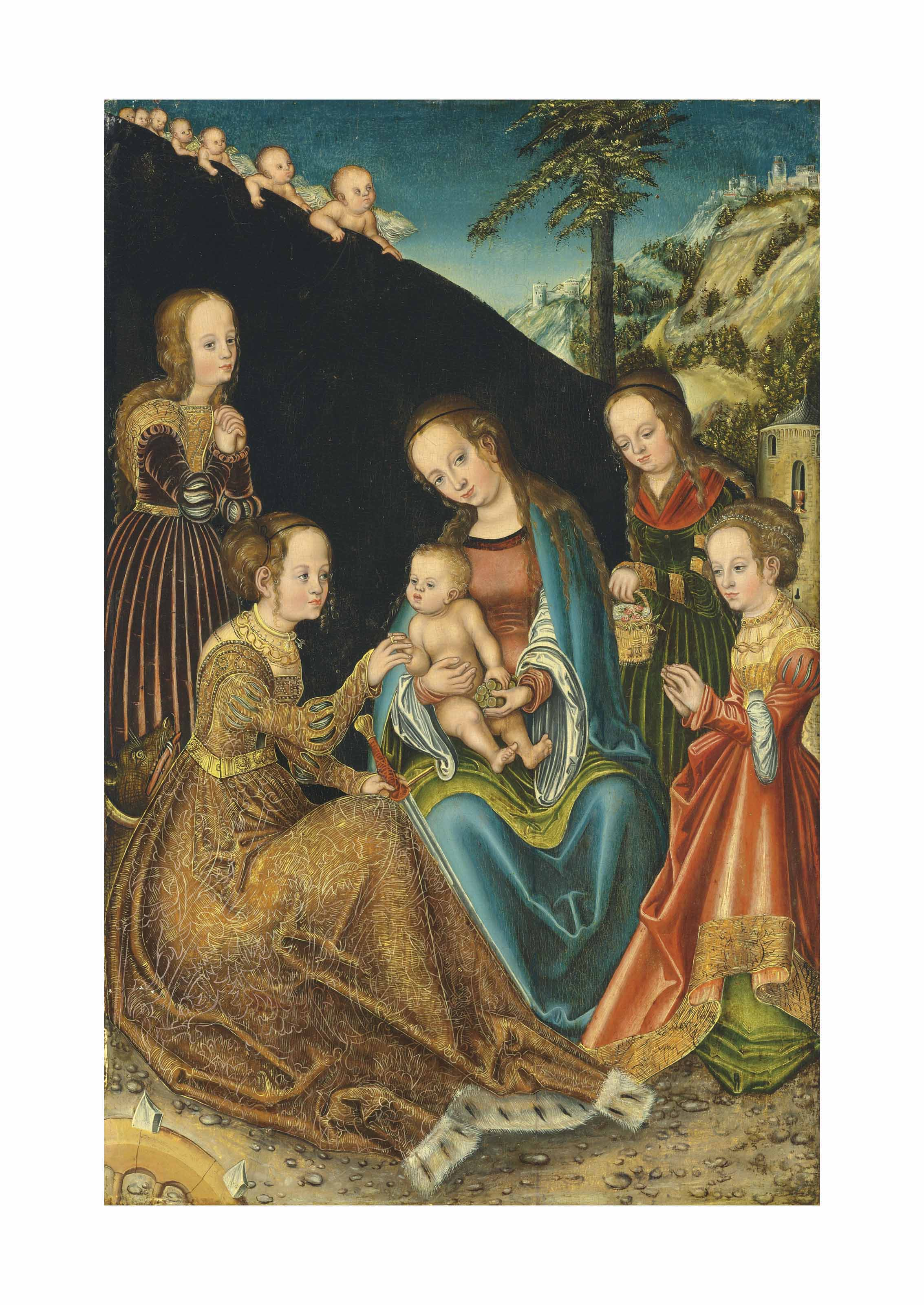 The Mystic Marriage of Saint Catherine of Alexandria, with Saints Margaret, Barbara and Dorothy