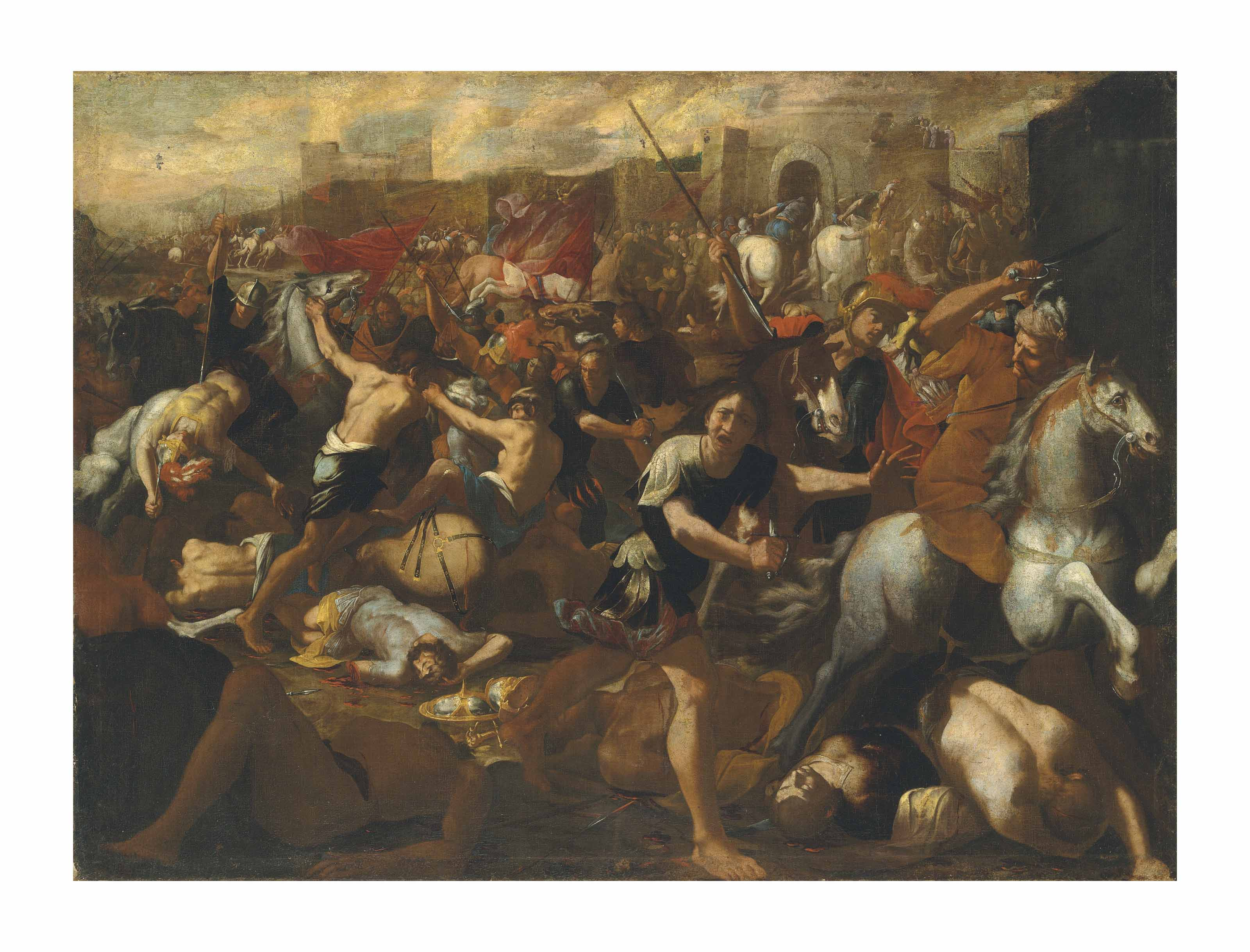 The Battle between the Israelites and the Amalekites overlooked by Moses, his arms held aloft by Aaron and Hur