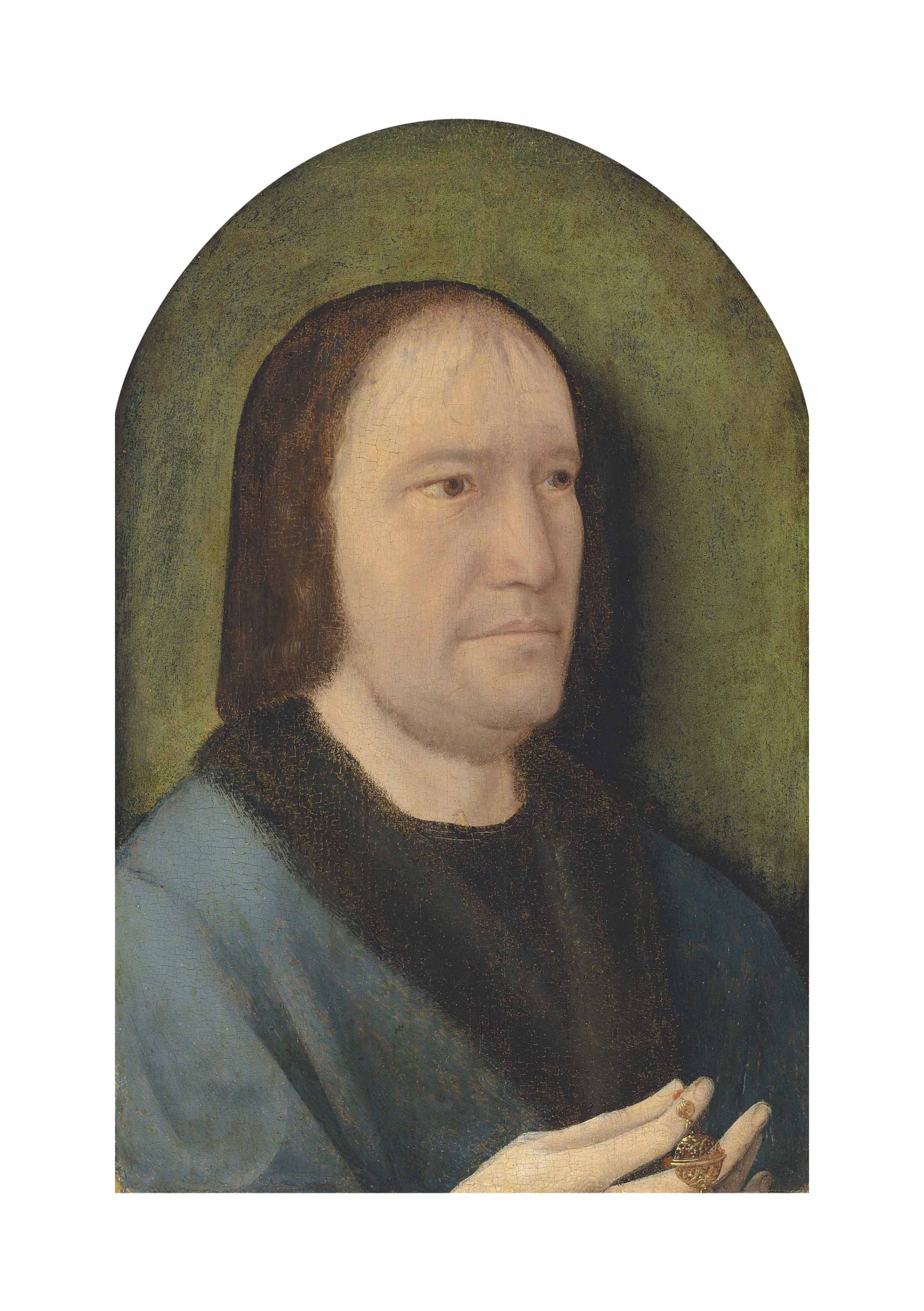 Portrait of a gentleman, half-length, in a blue fur-lined coat, a rosary with a pomander in his right hand