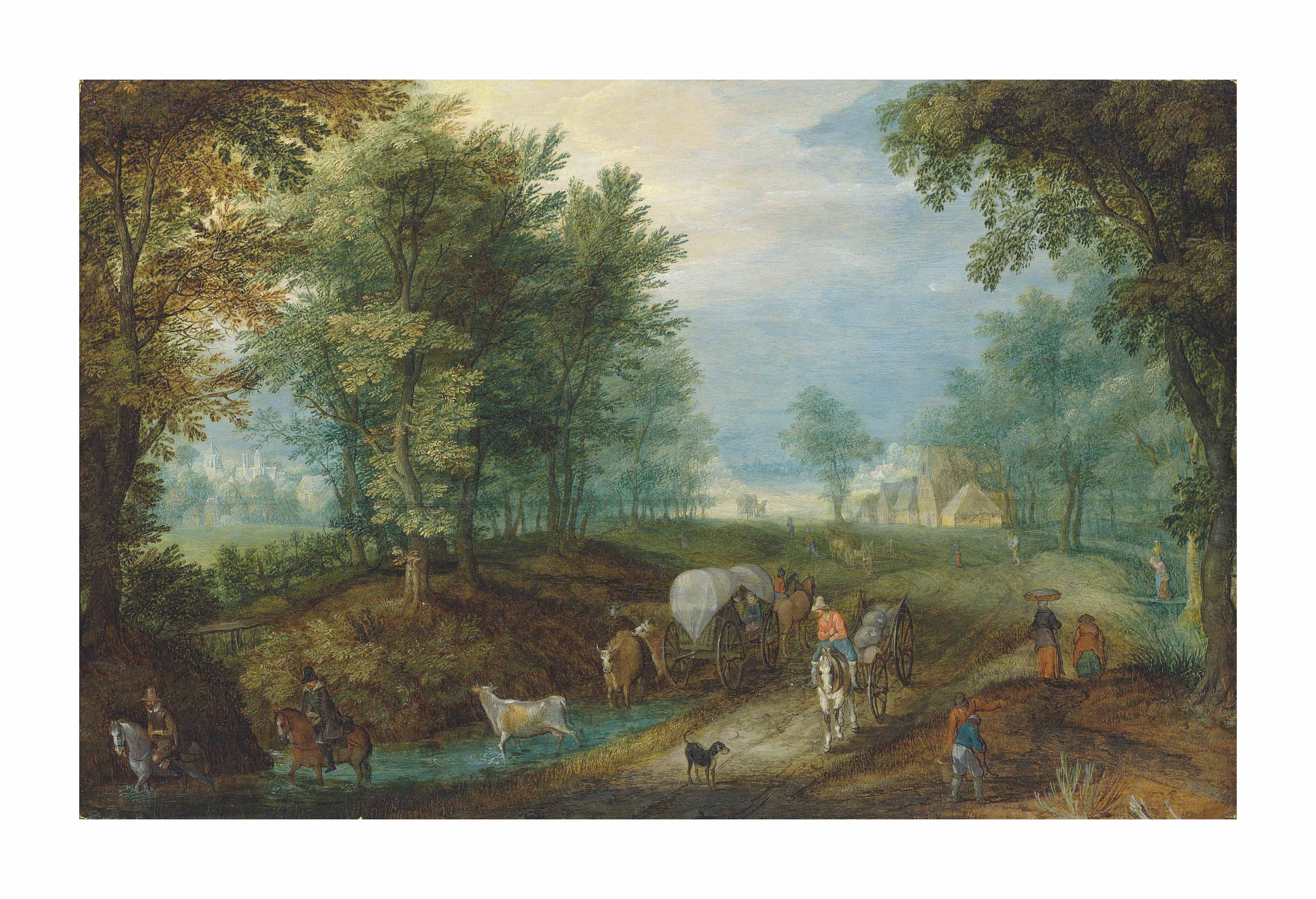 Travellers and carts on a road in a wooded landscape