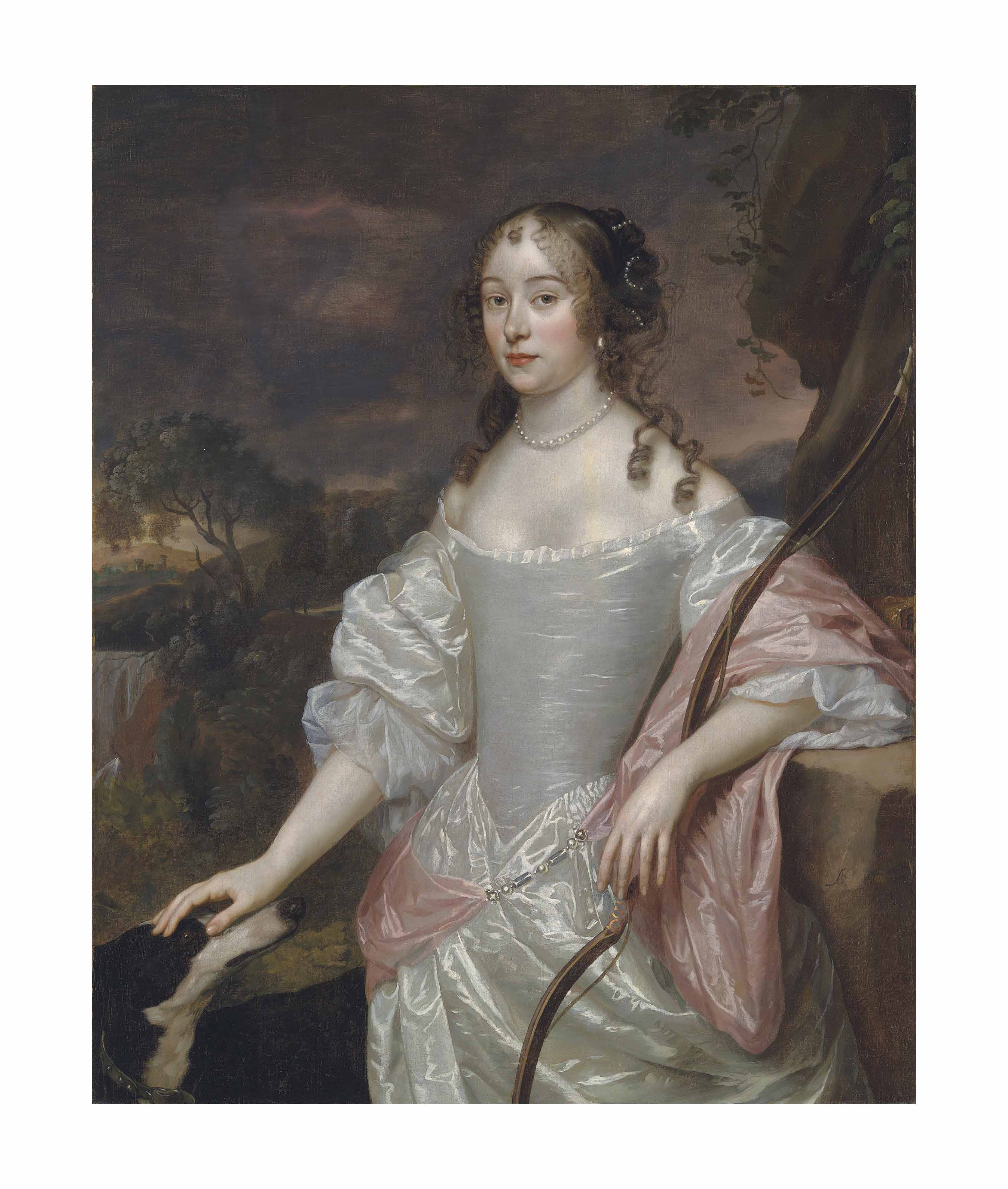 Portrait of a lady as Diana, three-quarter-length, in an oyster satin dress, a bow in her left hand, her right resting on a hound's head, in a landscape