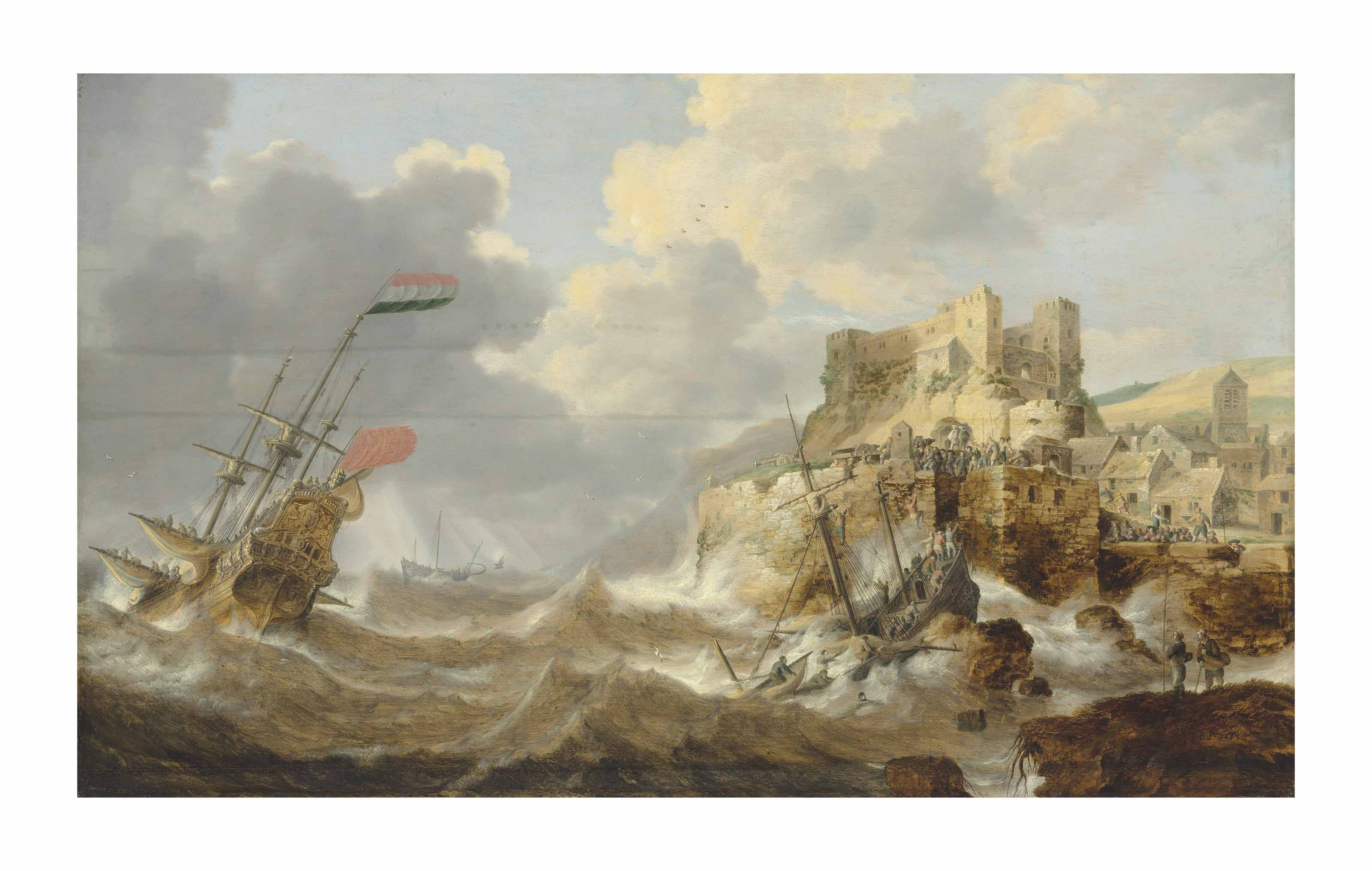 A coastal landscape with a Dutch three-master in distress and a shipwreck by a fortified town