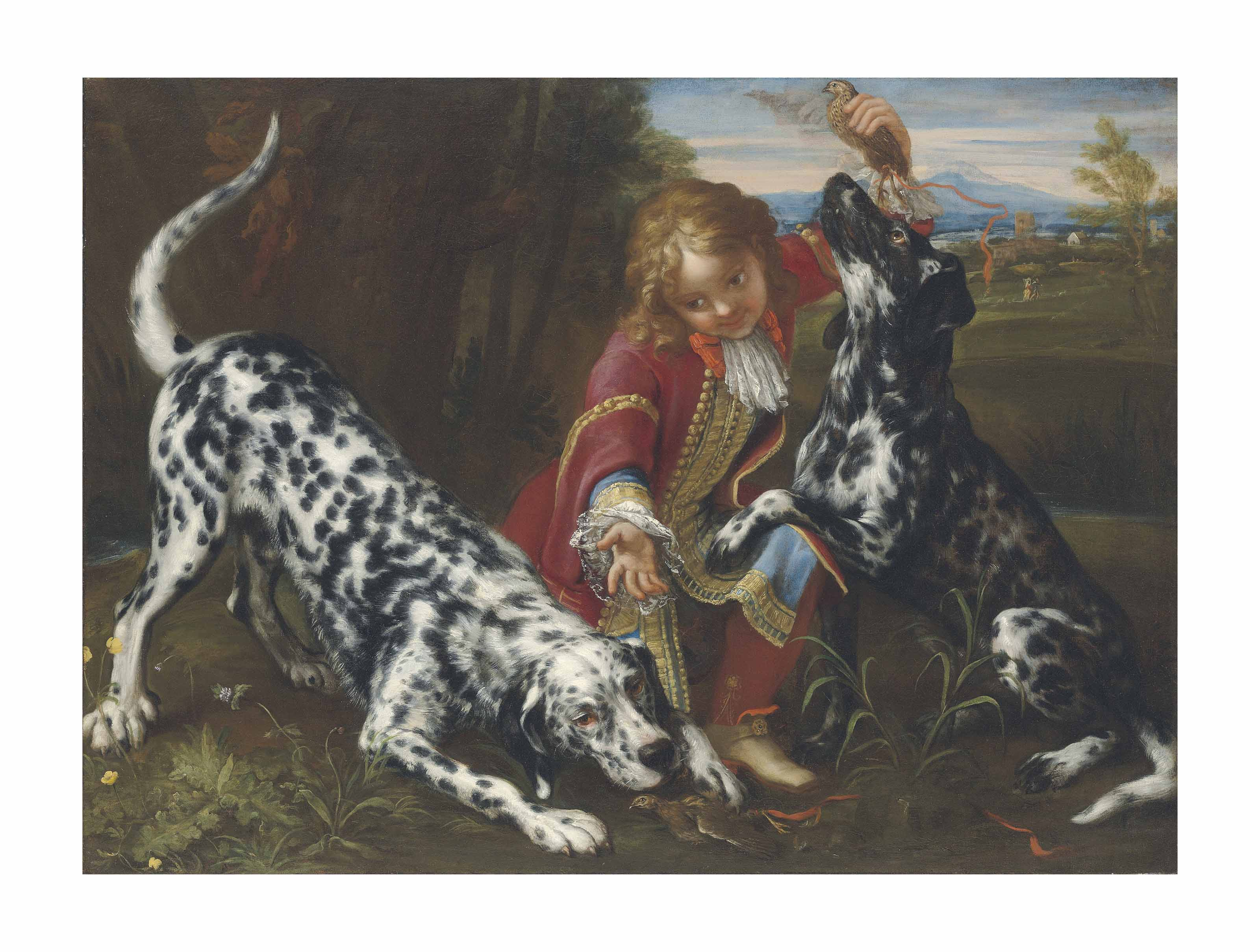 A young boy in livery with two English setters in a landscape