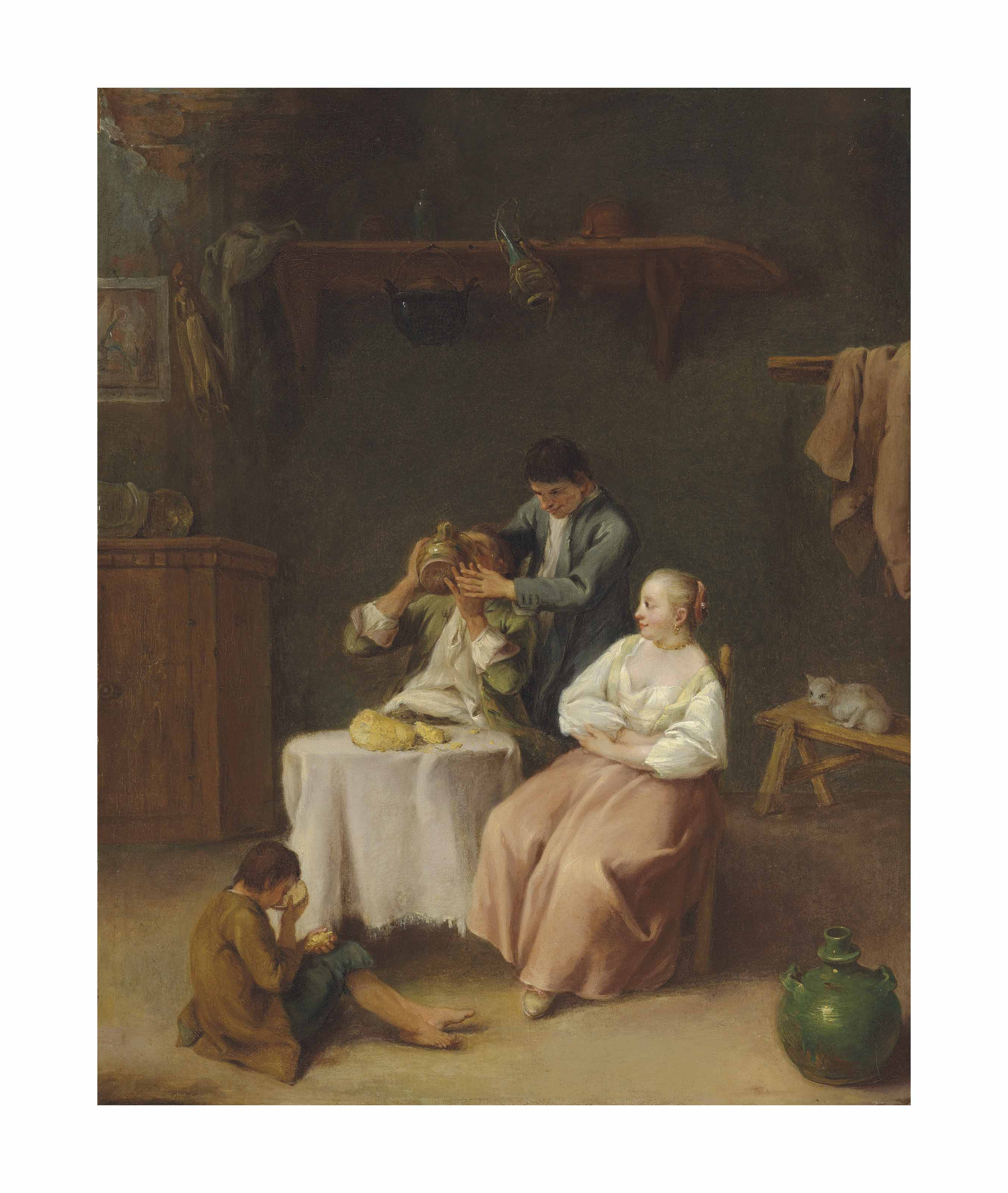 Figures eating and drinking in an interior