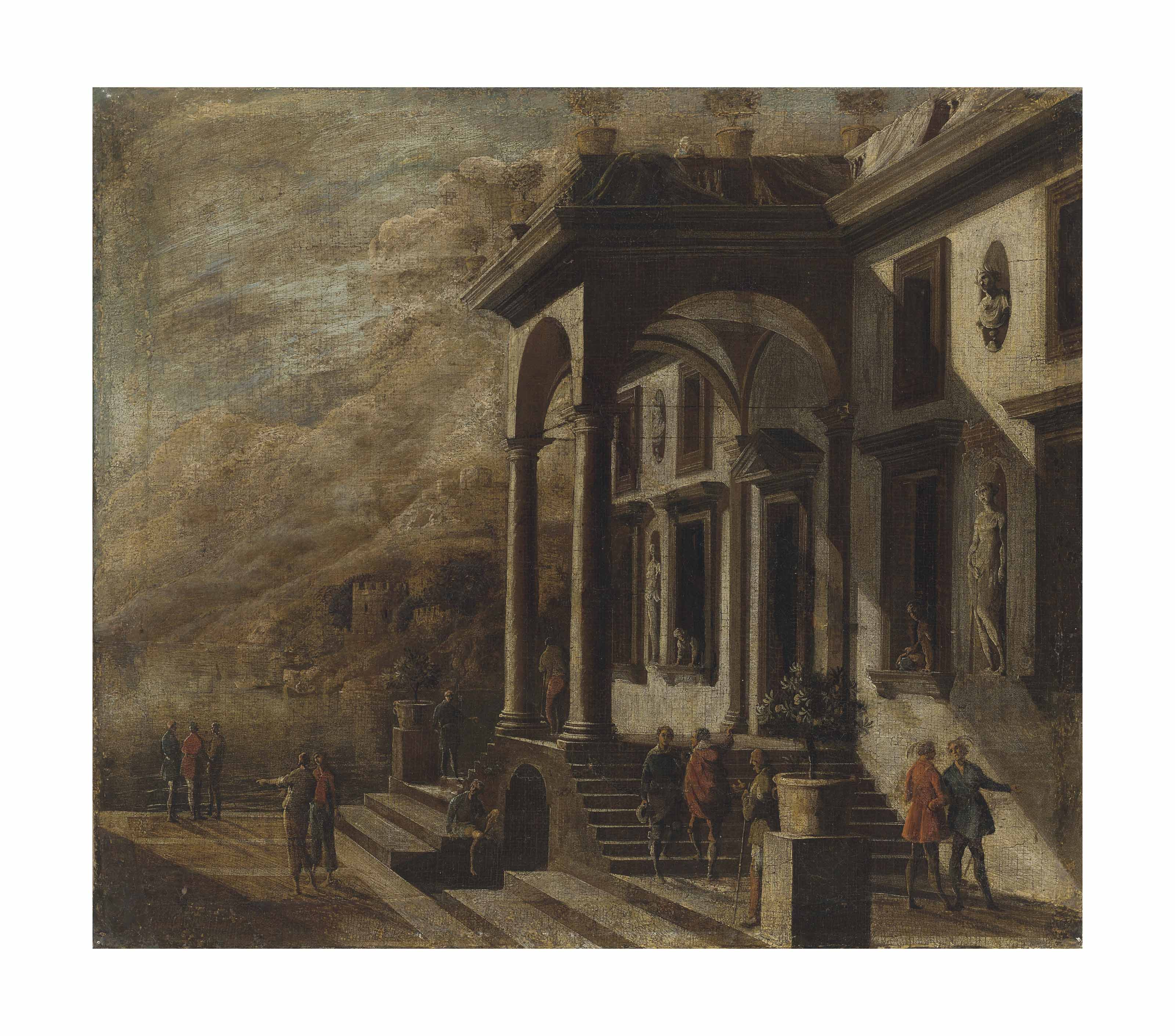 An architectural capriccio with figures