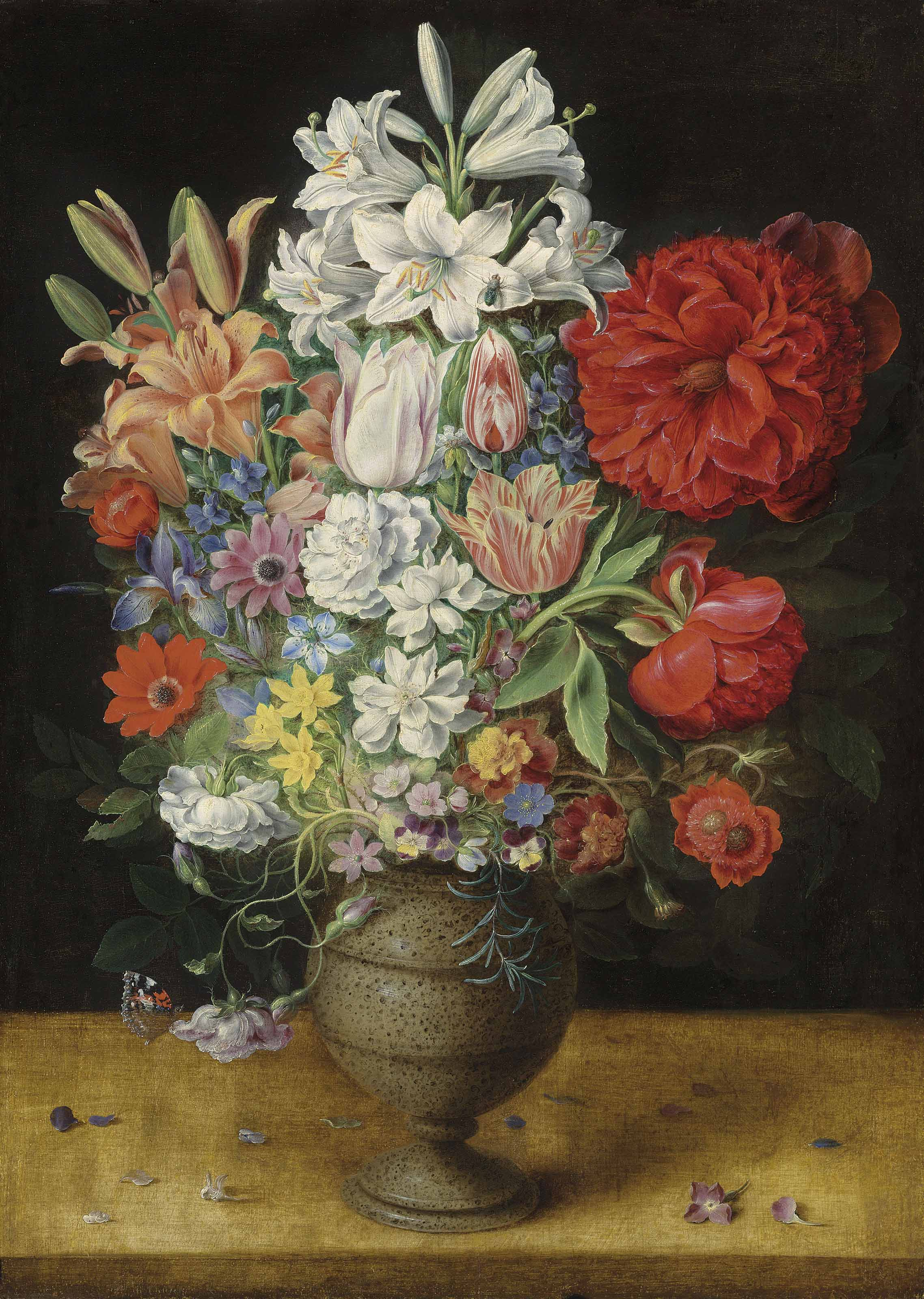Flowers in a German tigerware vase, with a bluebottle fly and a Red Admiral butterfly, on a ledge
