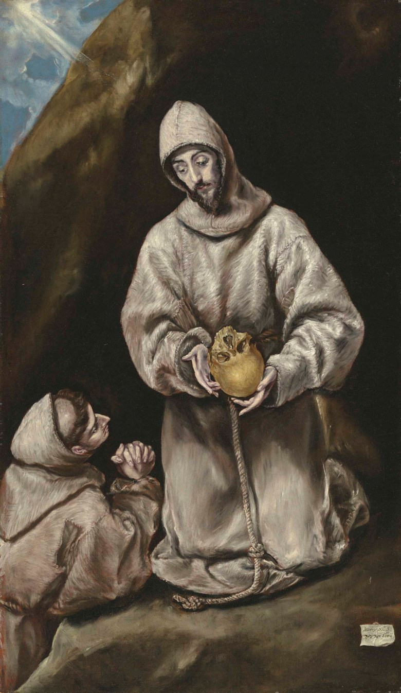 Doménikos Theotokópoulos, called El Greco (1541-1614), Saint Francis and Brother Leo in Meditation. 43¼ x 25⅜  in (110 x 64.5  cm). Estimate £5,000,000-7,000,000. This lot is offered in Old Masters Evening Sale on 7 December 2017  at Christie's in London