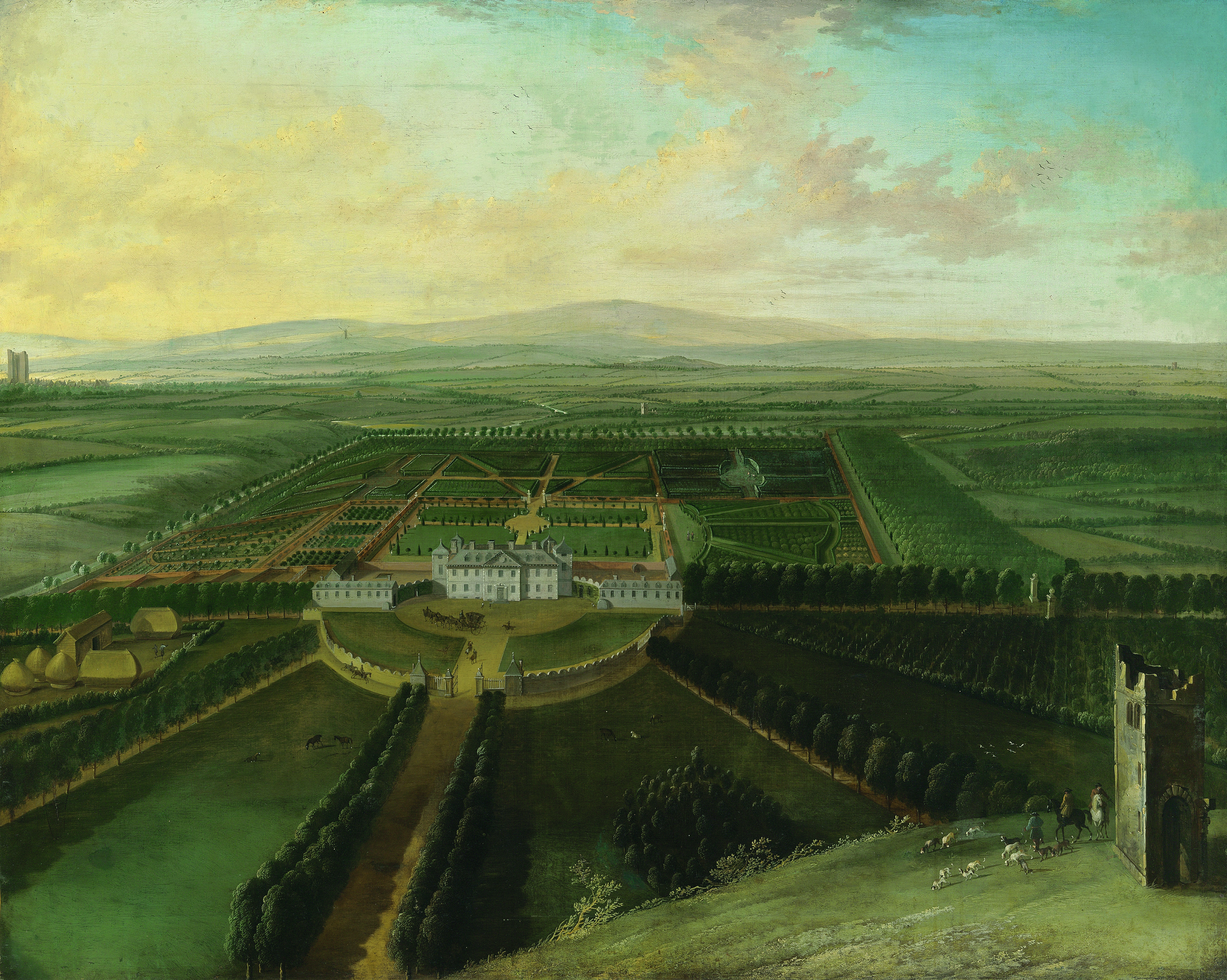 A extensive view of Carton House, County Kildare, with Maynooth in the distance