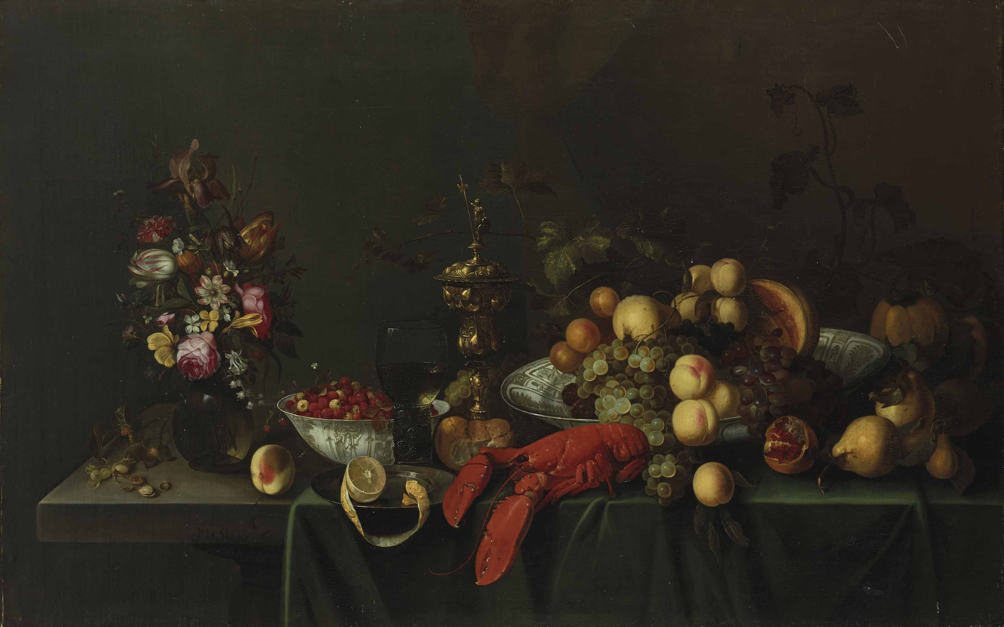Still life with flowers, fruits and lobster