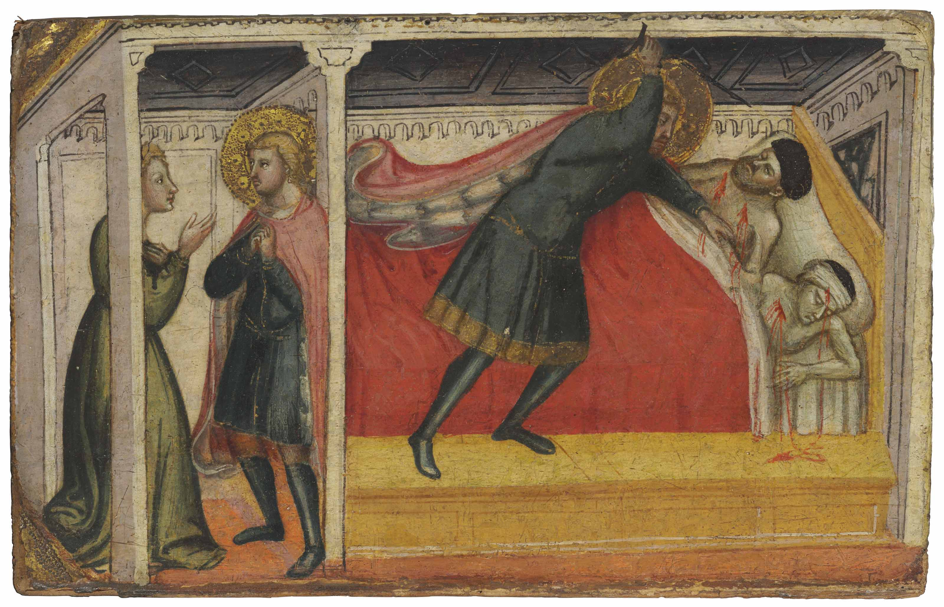 Saint Julian the Hospitaller kills his father and mother and confesses to his wife