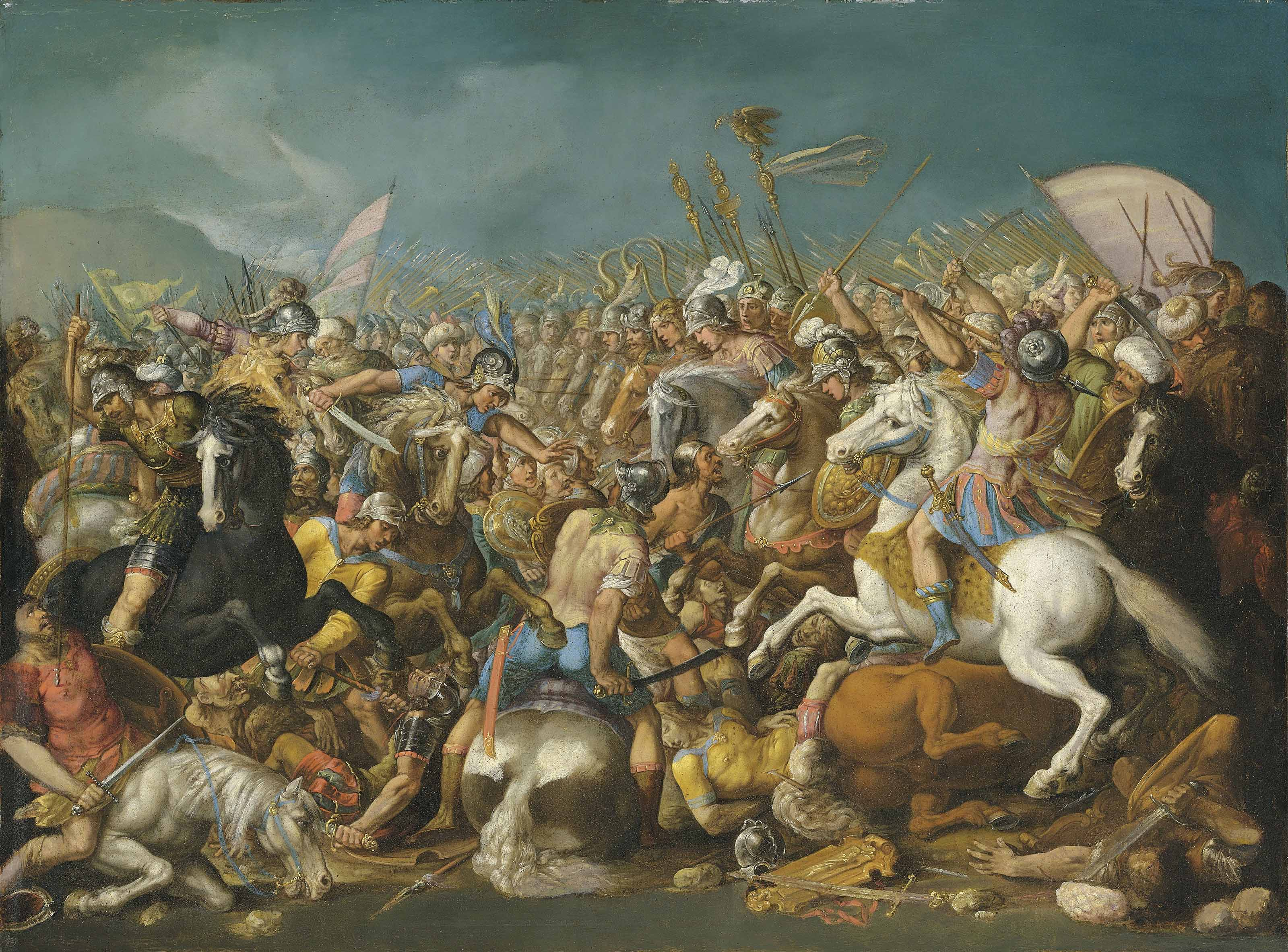 A classical battle, probably depicting the defeat of Hannibal by Scipio Africanus Major (circa 235-183 B.C.)