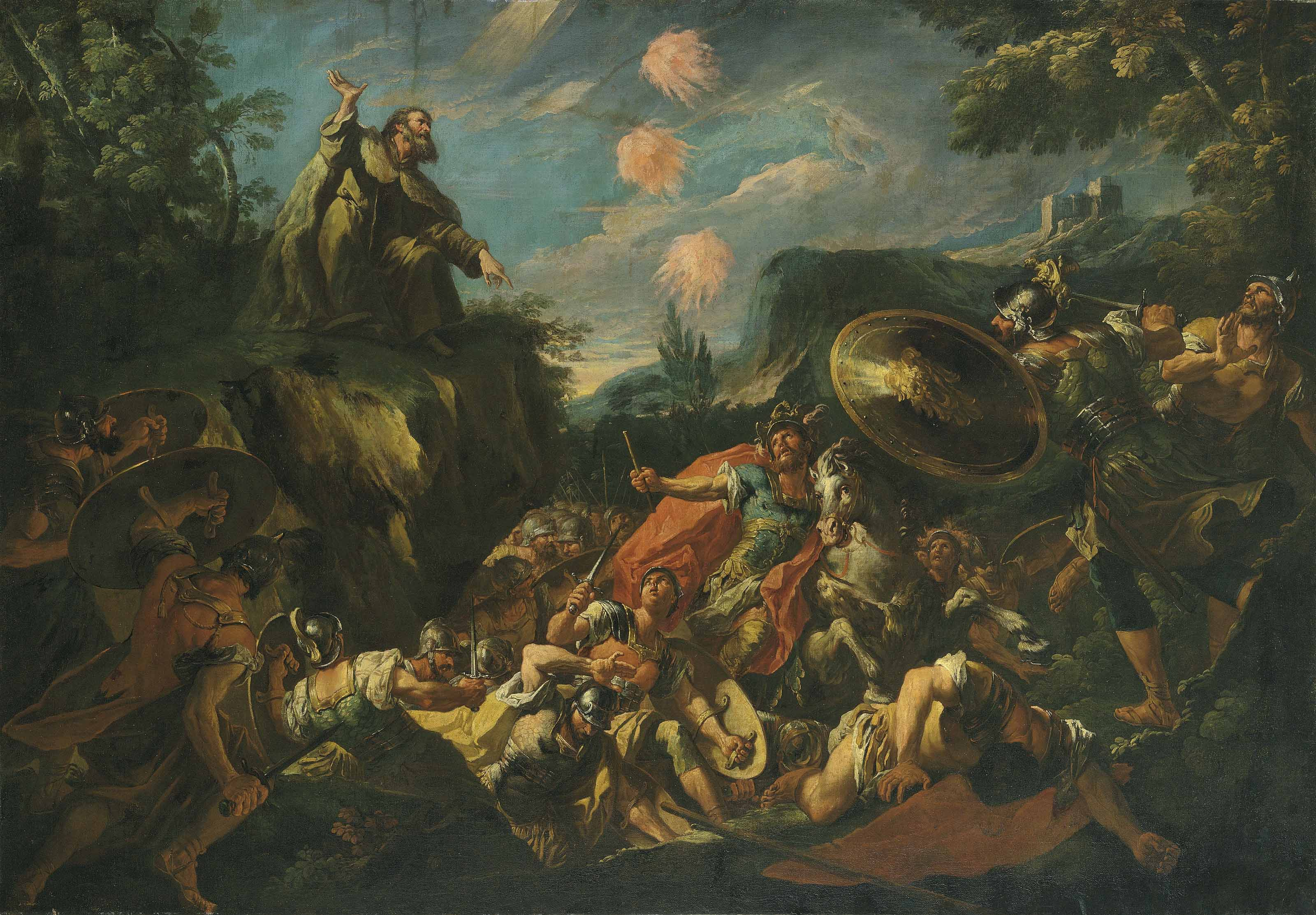 Elijah calling fire from Heaven to destroy the soldiers of Ahaziah