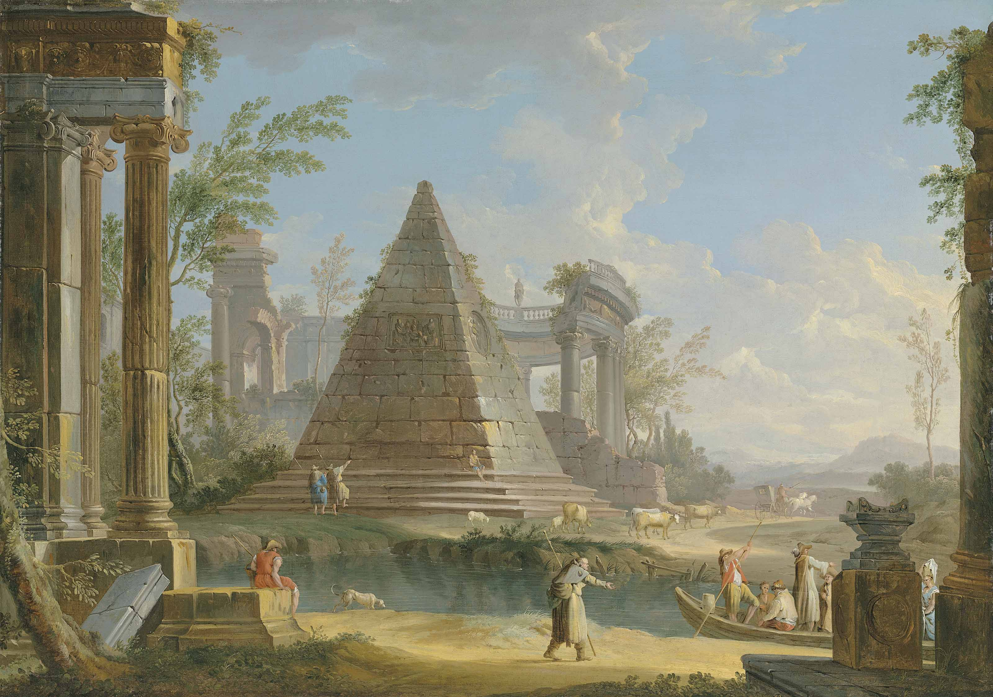 An architectural capriccio with figures ferried along a river, an extensive landscape beyond