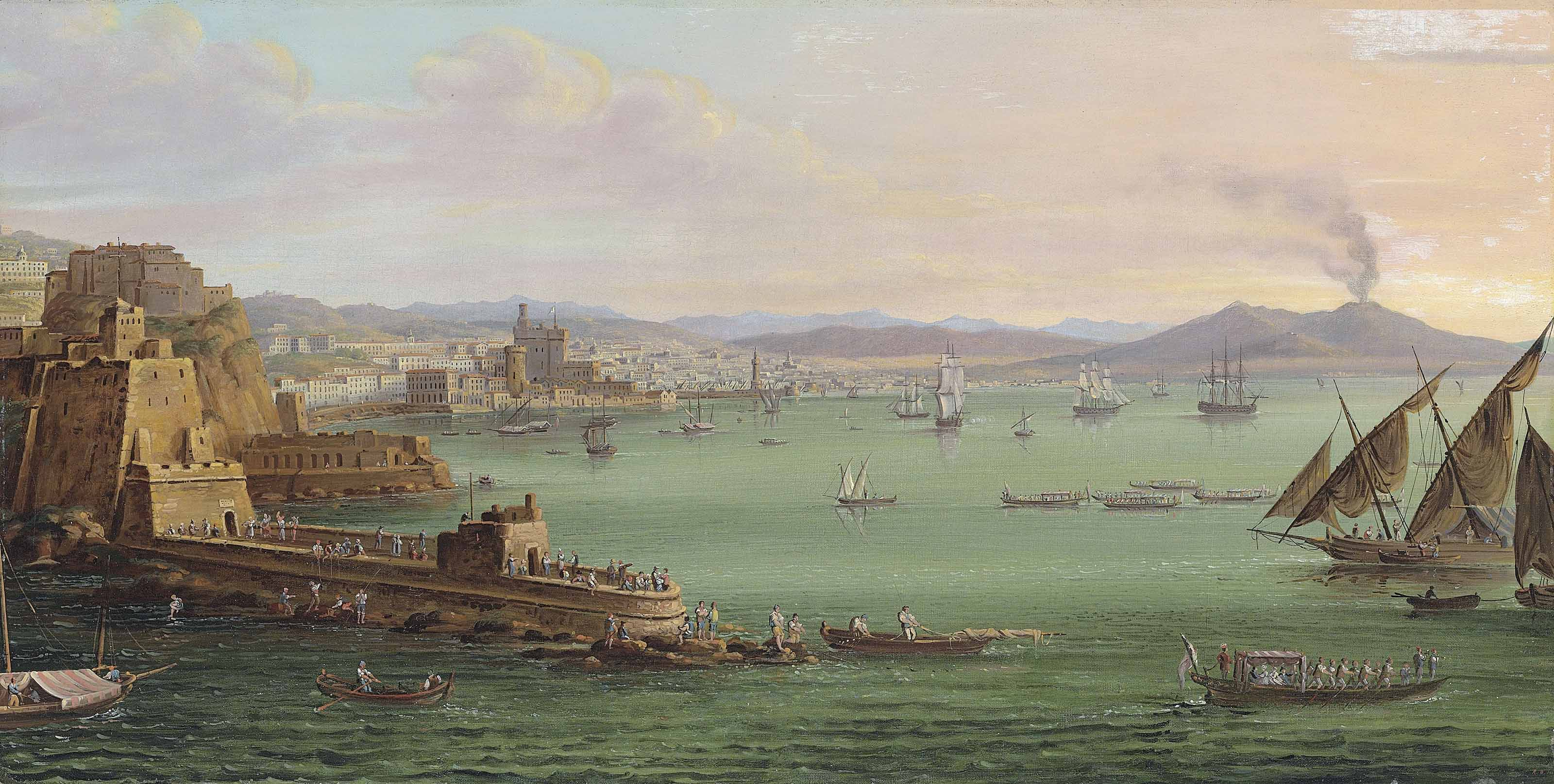 The bay of Naples with the Castel dell'Ovo, the Vesuvius beyond