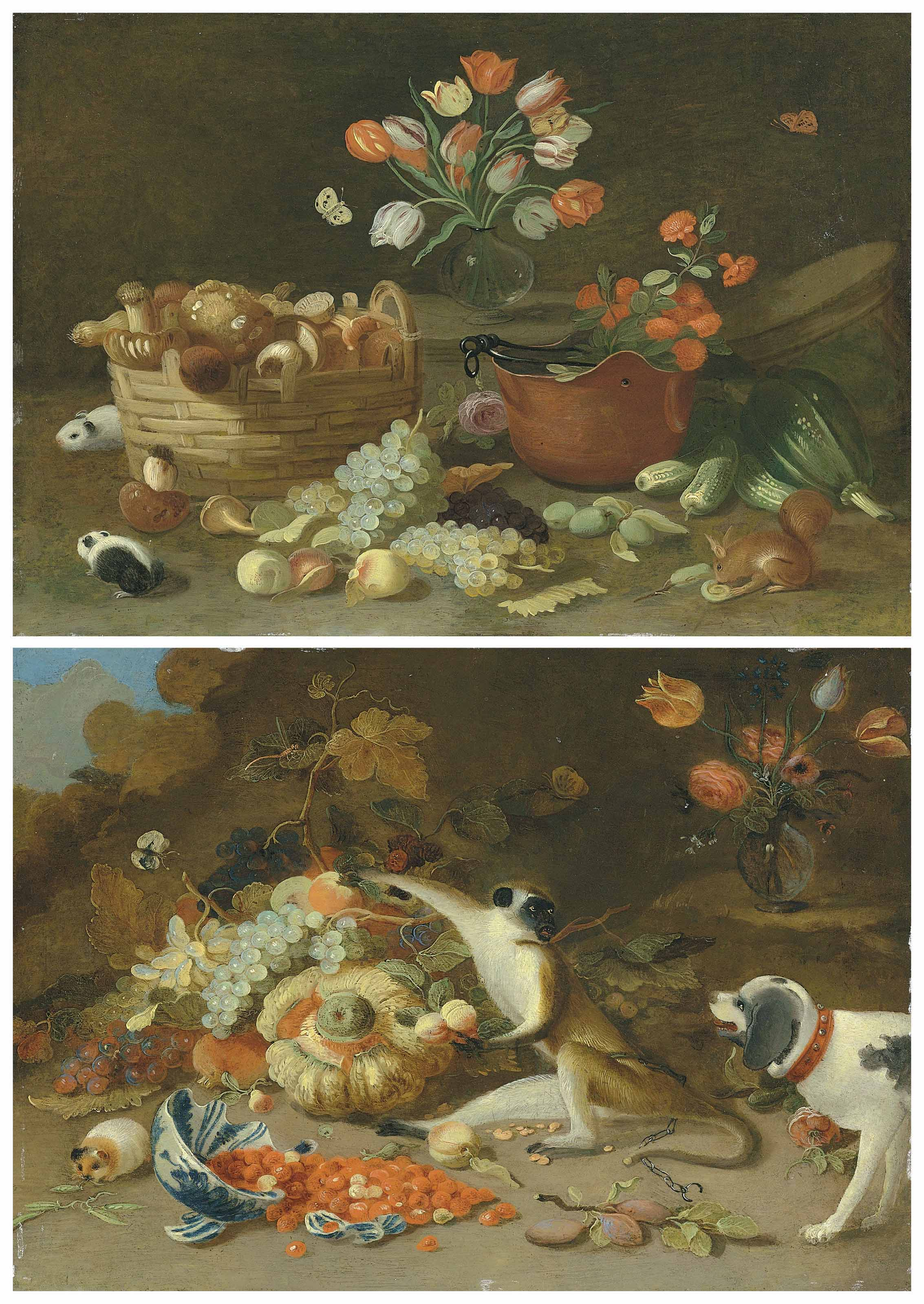 A squirrel and hamsters by a basket of mushrooms, fruit and flowers; and A monkey caught stealing fruit by a dog