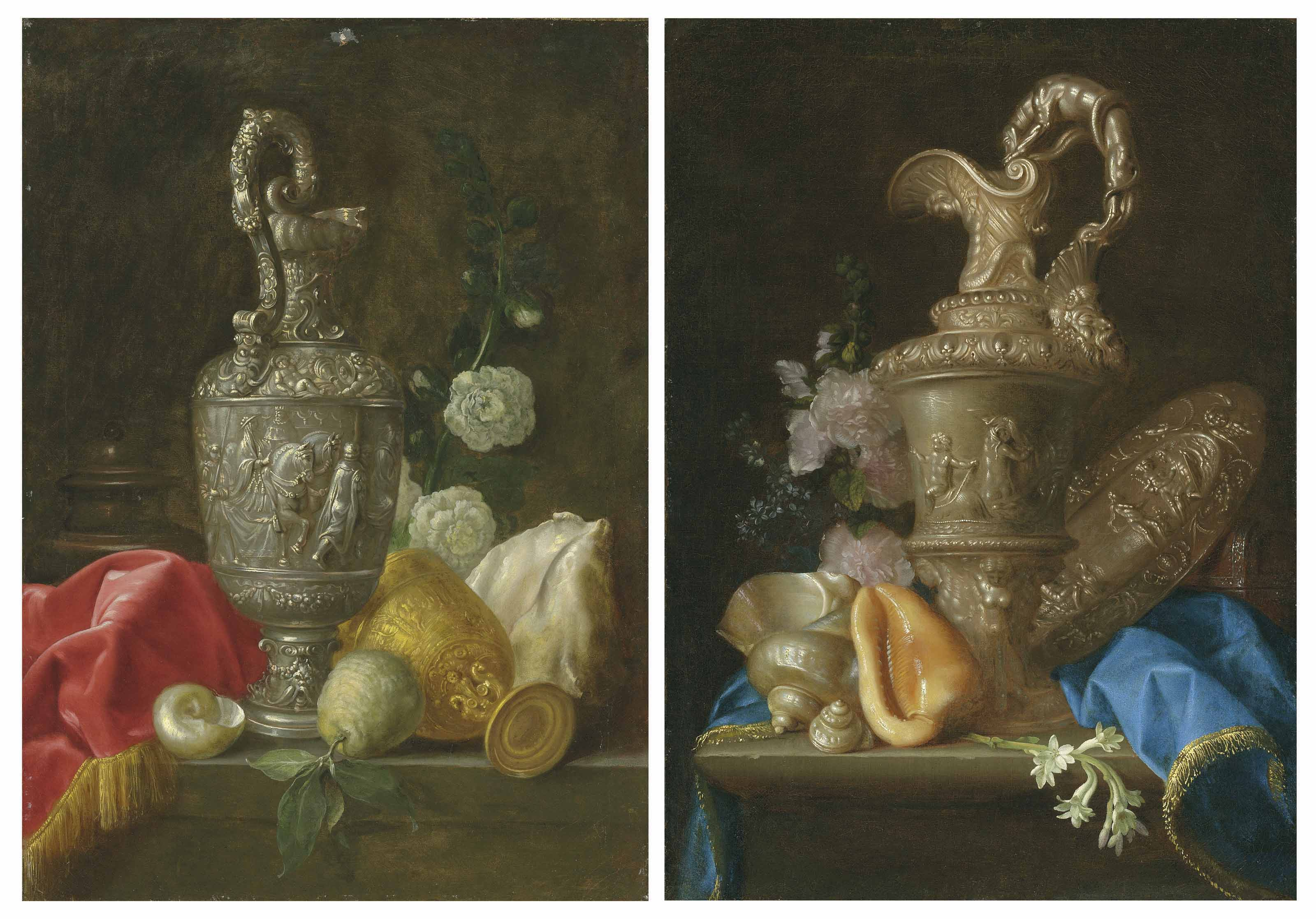 An ornate silver ewer, a gilt chalice, shells and a quince, on a partly-draped stone ledge; and An ornate silver ewer, a silver basin with the Judgement of Paris, shells and flowers, on a partly-draped stone ledge