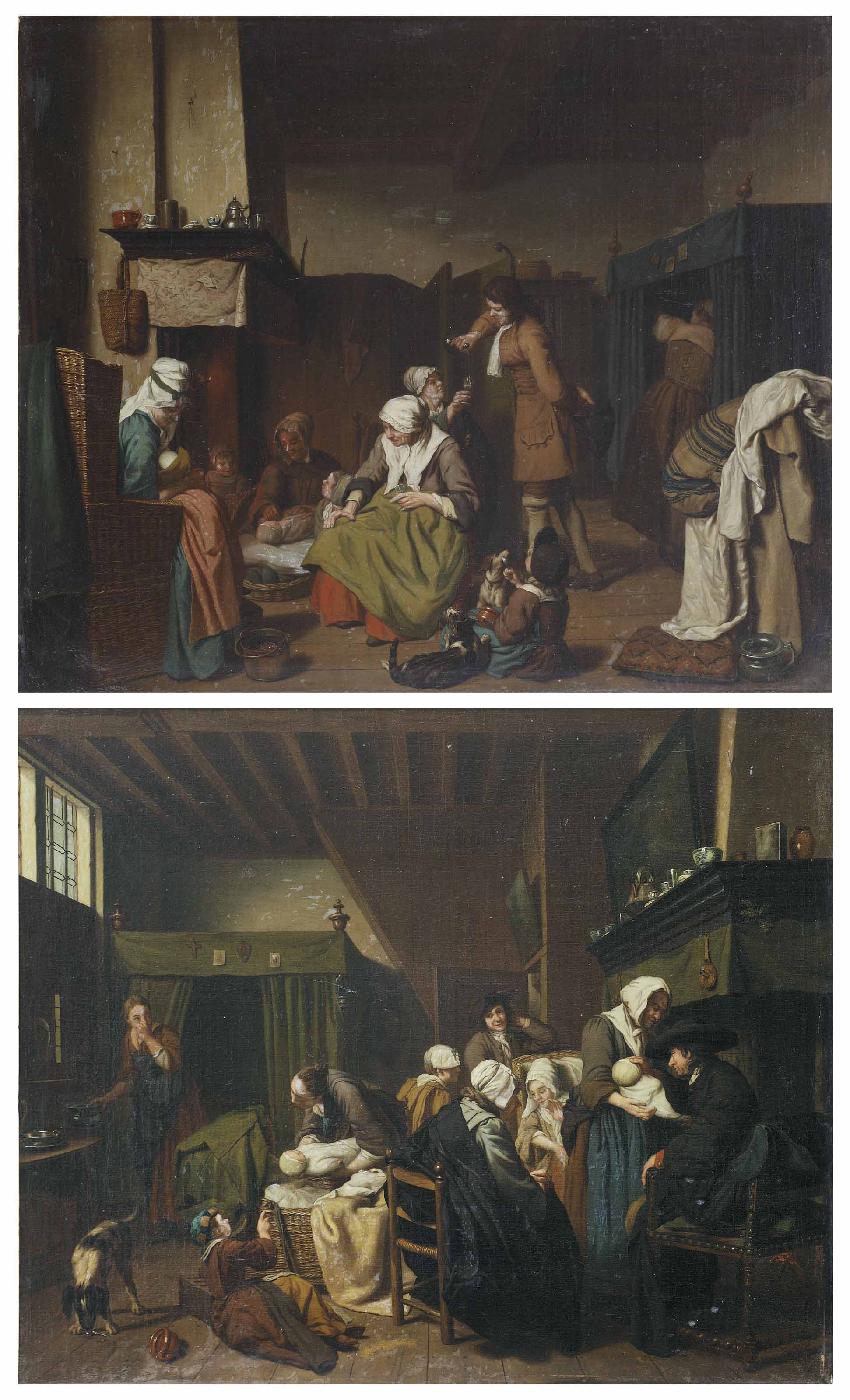 An interior with midwives nursing twins and figures drinking; and An interior with figures visiting a mother and her two newborns