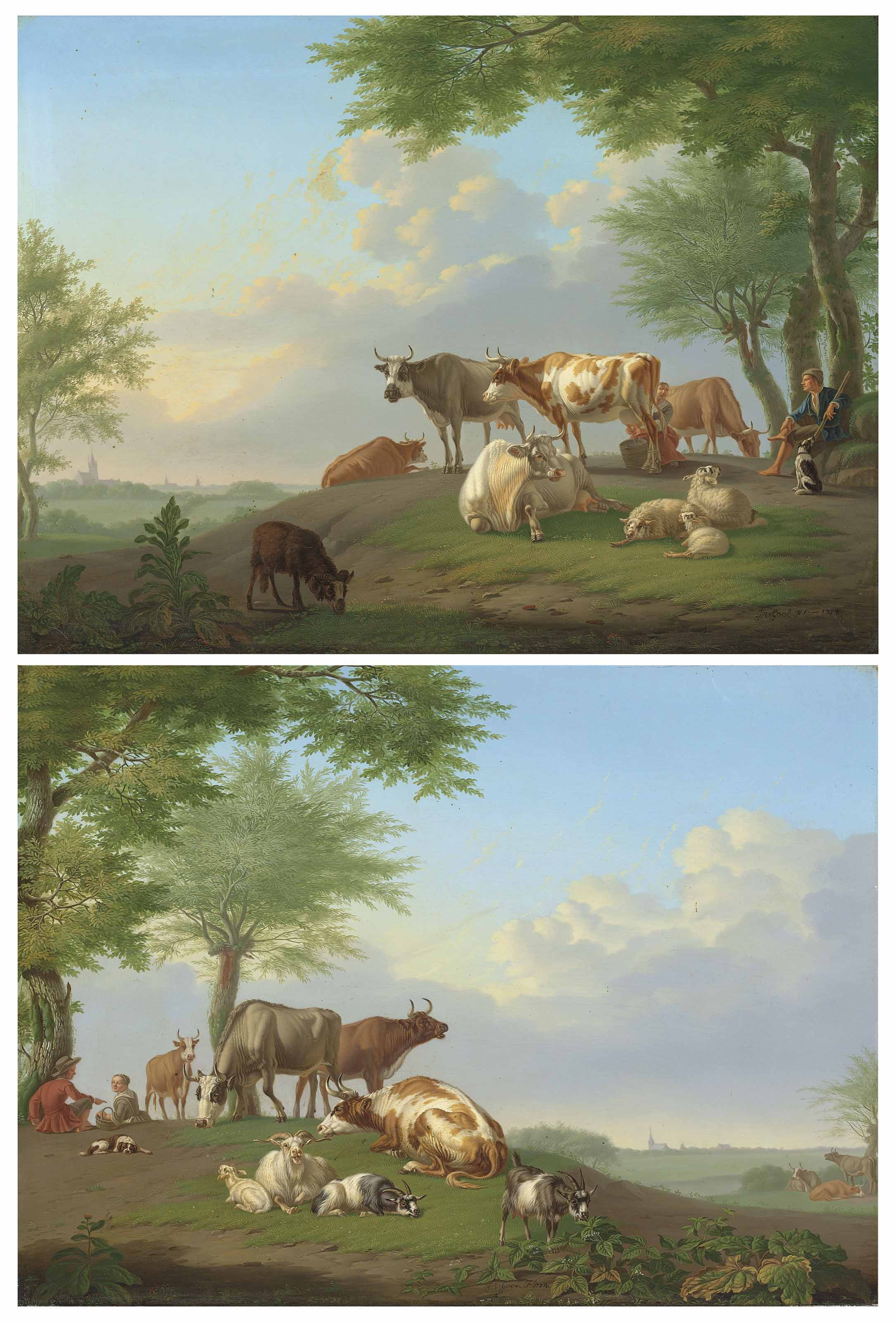 Drovers with cattle and goats in a landscape; and Drovers with cattle and sheep in a landscape