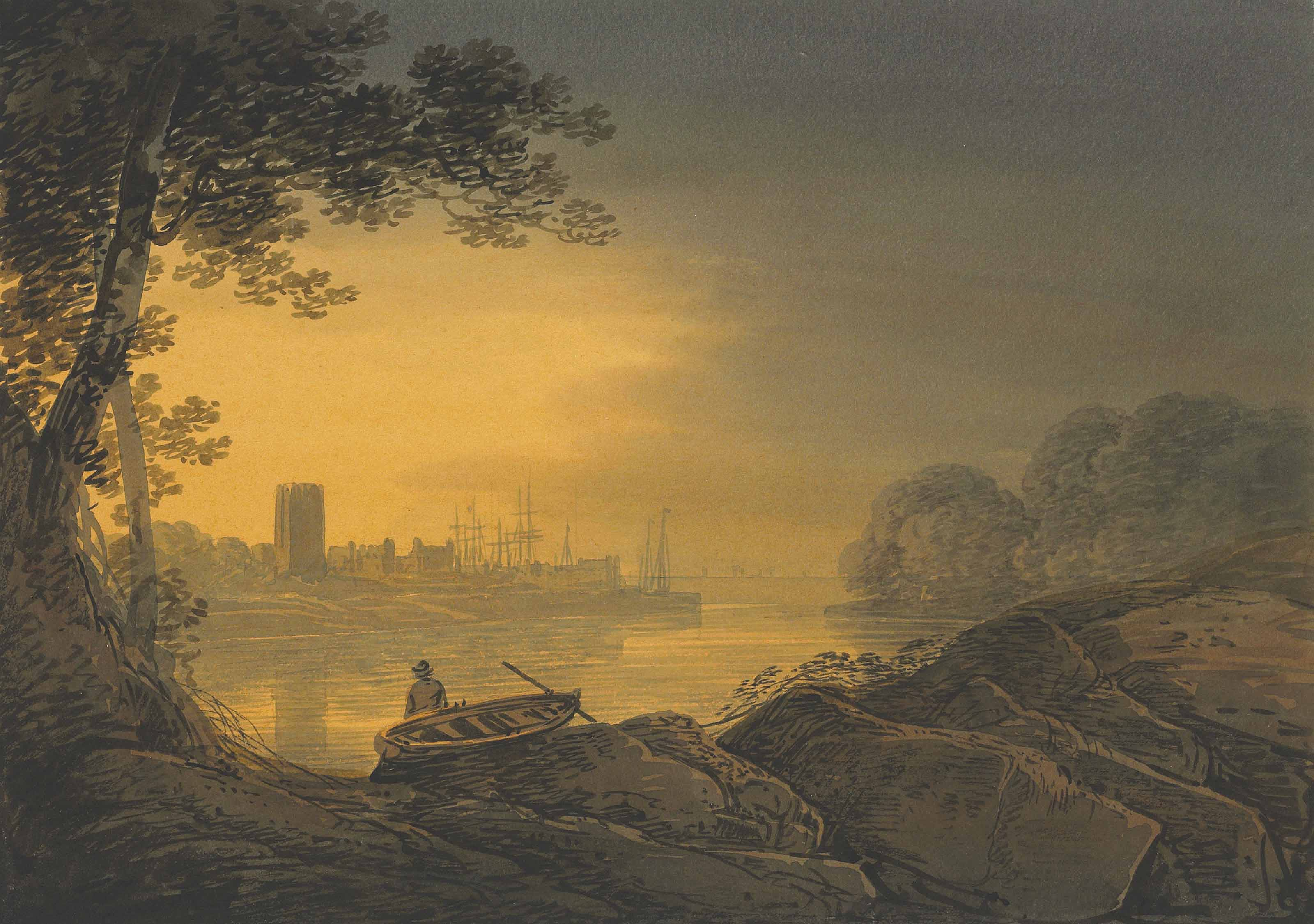 Sunset over a harbour; and two travellers crossing a bridge over a river