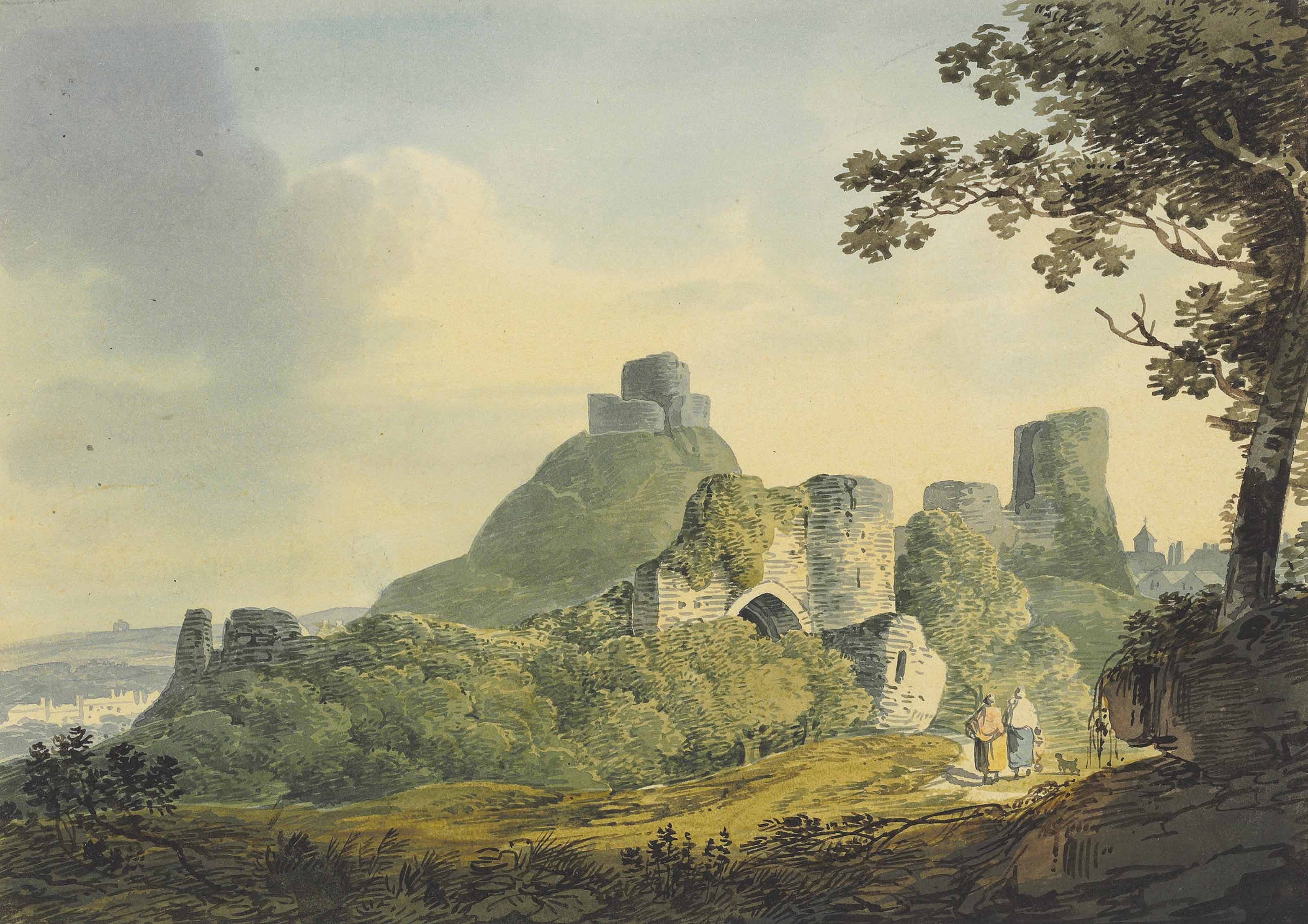 Four landscape studies: travellers beneath a ruined arch; travellers before a gatehouse; a wooded shoreline with Launceston castle beyond; and figures on a beach