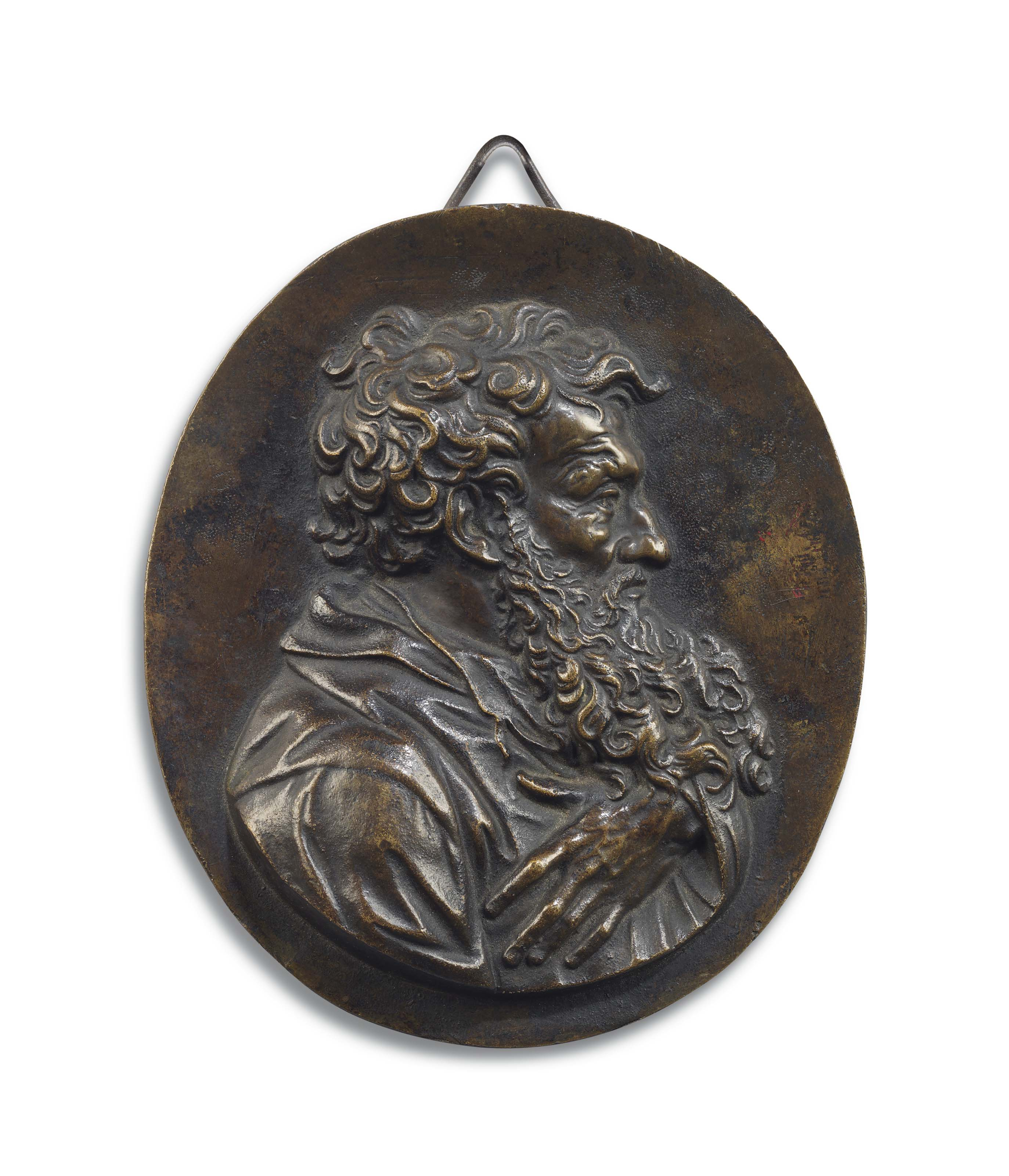 AN OVAL BRONZE RELIEF OF A GENTLEMAN, PROBABLY ST PAUL