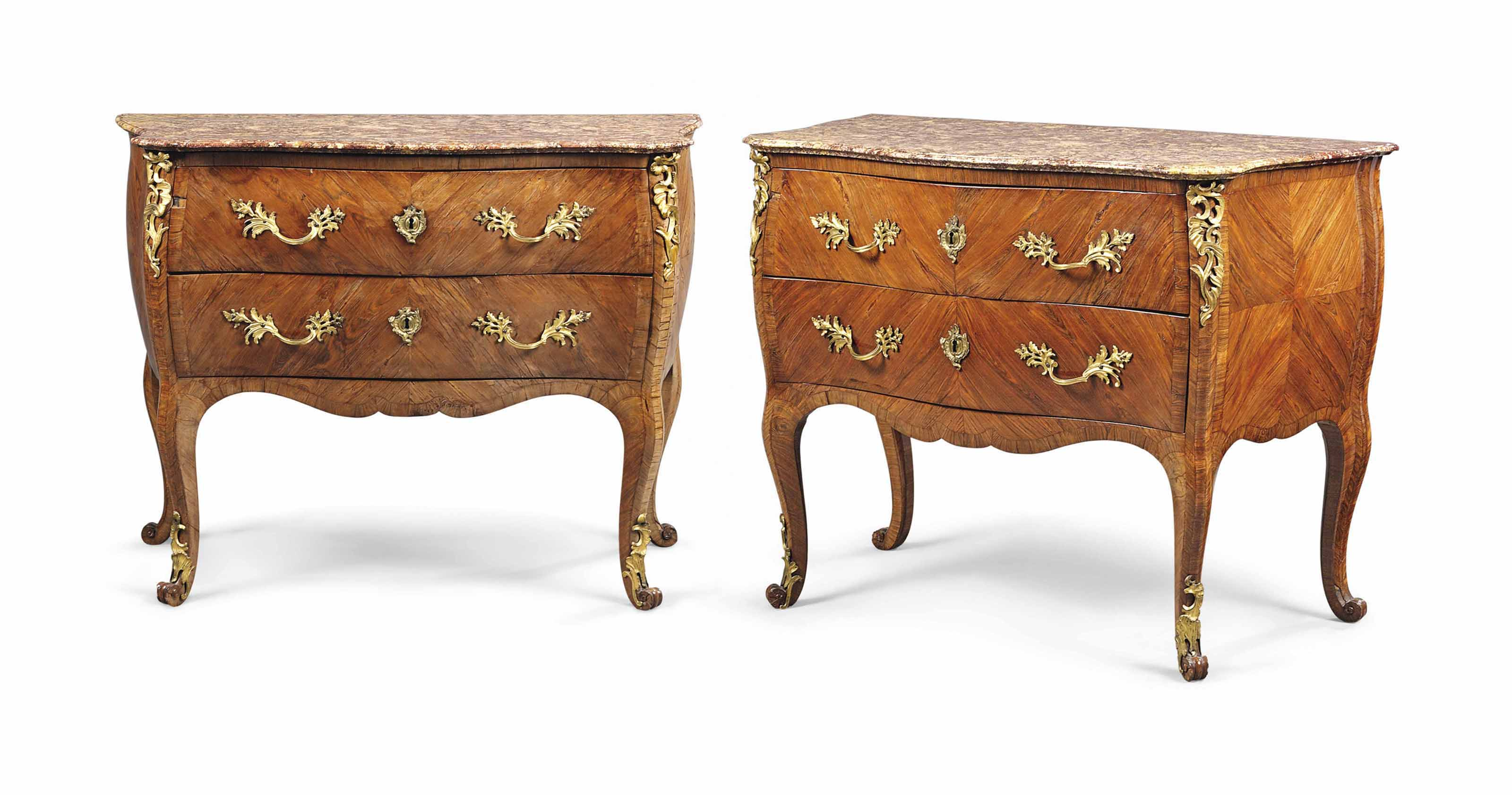 A PAIR OF NORTH ITALIAN ORMOLU-MOUNTED KINGWOOD COMMODES
