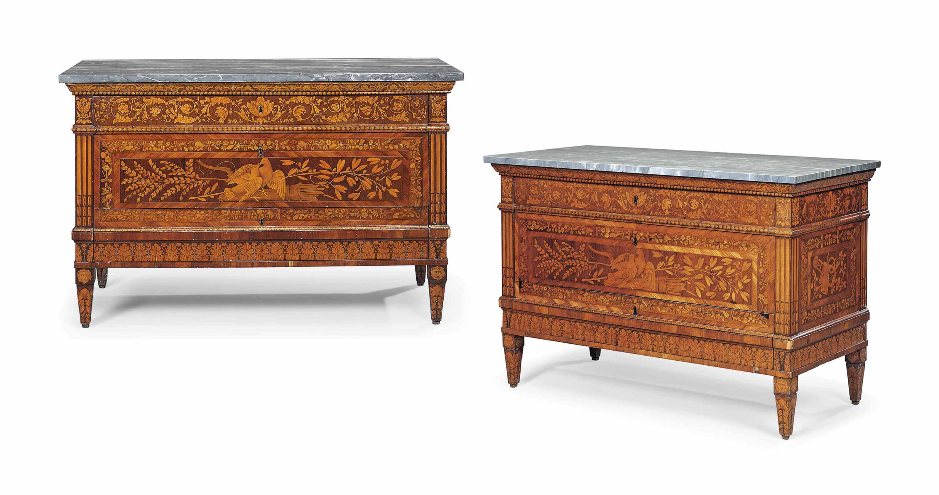 A PAIR OF NORTH ITALIAN KINGWOOD, AMARANTH, TULIPWOOD AND FRUITWOOD MARQUETRY COMMODES