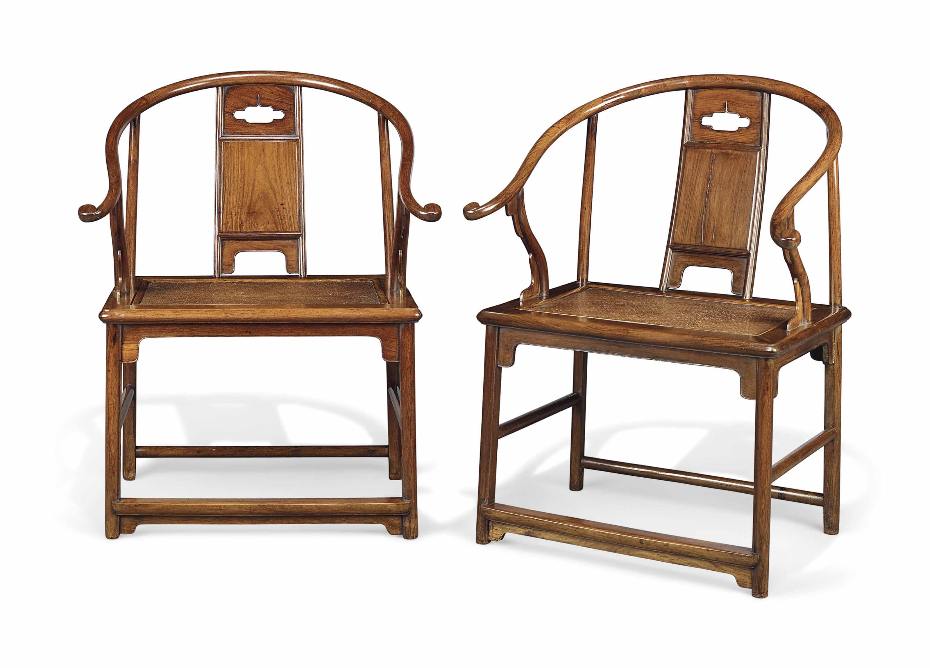 An Extremely Rare And Important Pair Of Huanghuali Horseshoe Back  Armchairs, Quanyi, Ming