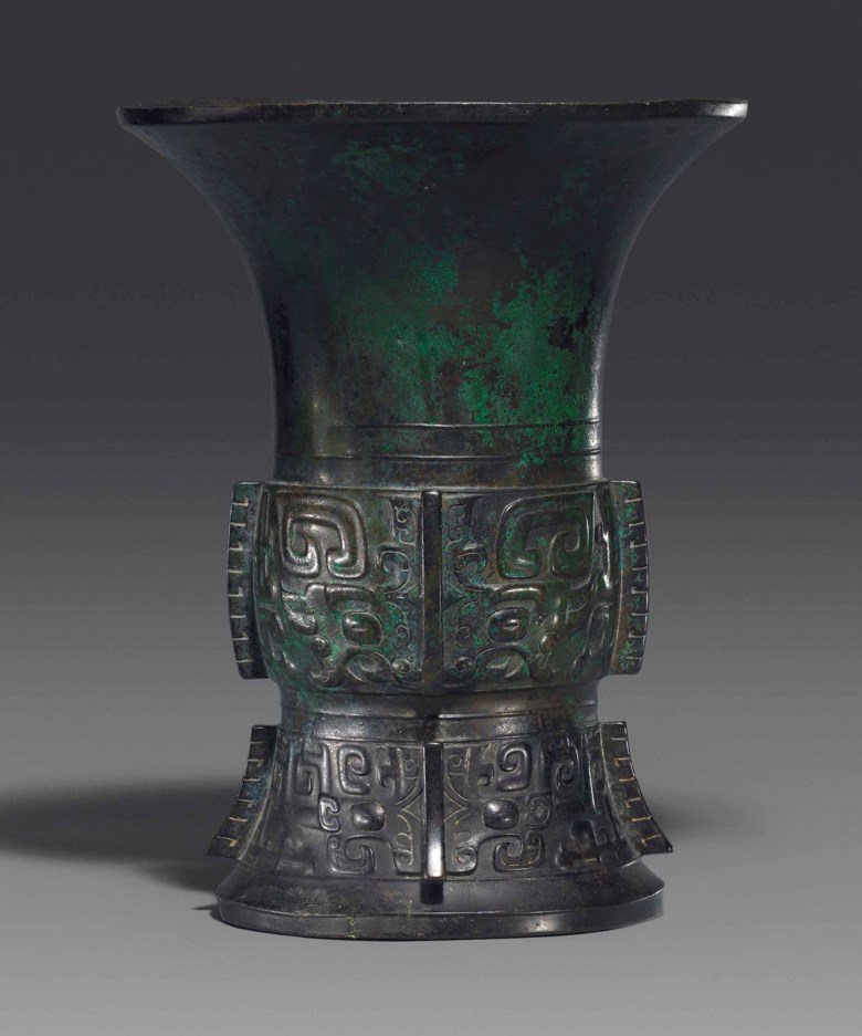 A bronze ritual wine vessel, Zun, early Western Zhou dynasty (12th century BC). 10¾  in (27.4  cm) high. Estimate £30,000-50,000. This lot is offered in Fine Chinese Ceramics & Works of Art on 7 November at Christie's in London