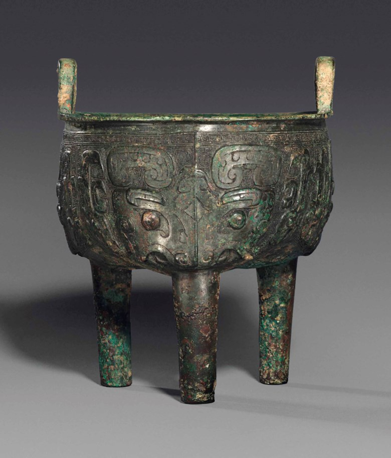 A bronze tripod vessel, Ding, late Shang dynasty (1600-1100 BC). 7⅛  in (18.2  cm) high. Estimate £20,000-40,000. This lot is offered in Fine Chinese Ceramics & Works of Art on 7 November at Christie's in London
