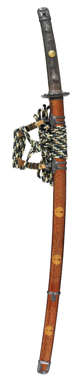 AN ESHU KATANA IN A FINE GOLD MAKIE LACQUER TACHI MOUNTING FOR FORMAL WEAR