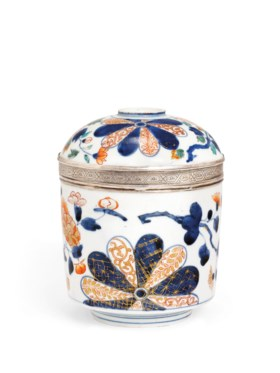 A LOUIS XV SILVER-MOUNTED JAPANESE IMARI JAR AND COVER