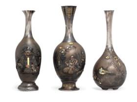 THREE MIXED-METAL-INLAID SILVER AND SHIBUICHI VASES BY THE OZEKI COMPANY
