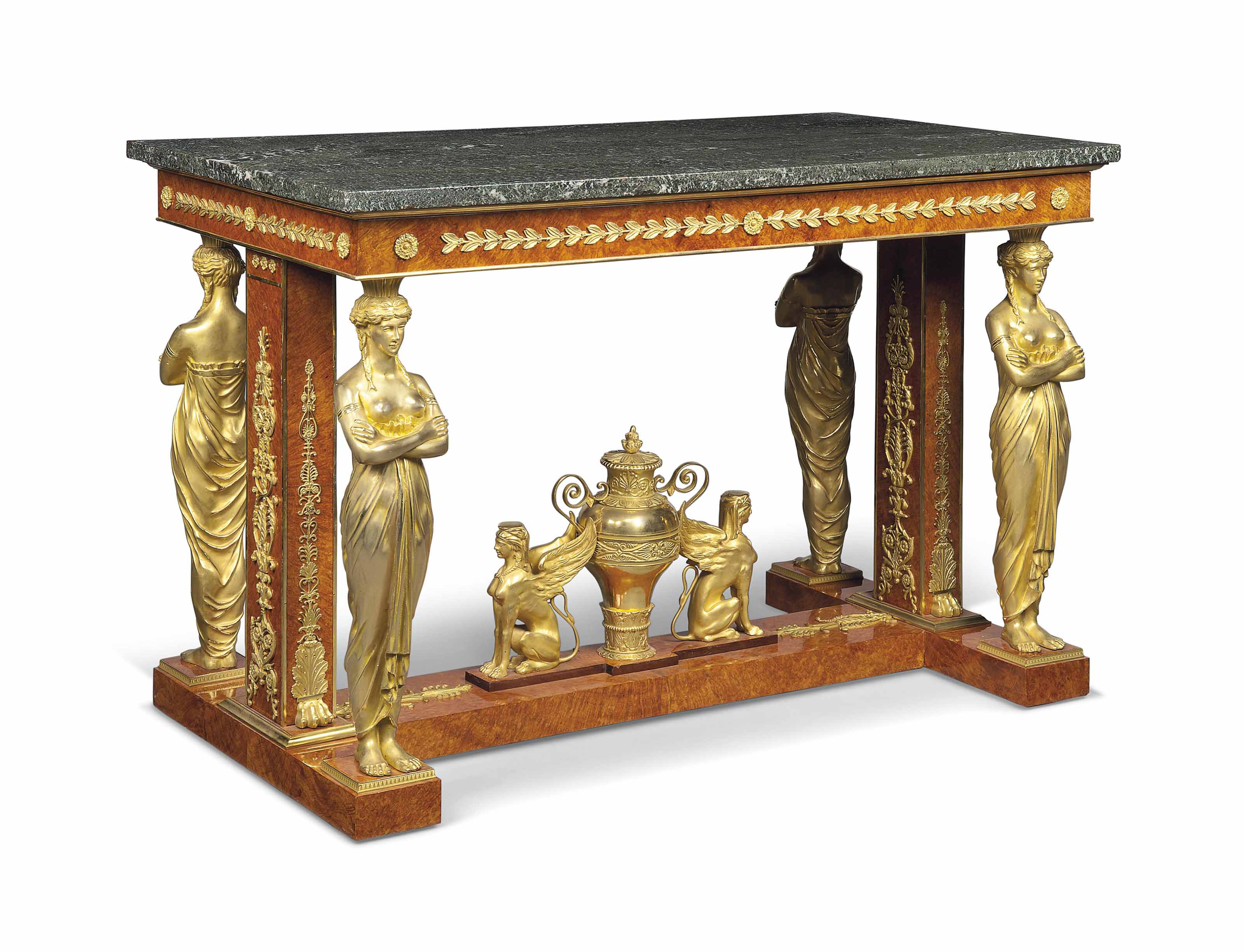 A FRENCH ORMOLU-MOUNTED AMBOYNA CENTRE TABLE