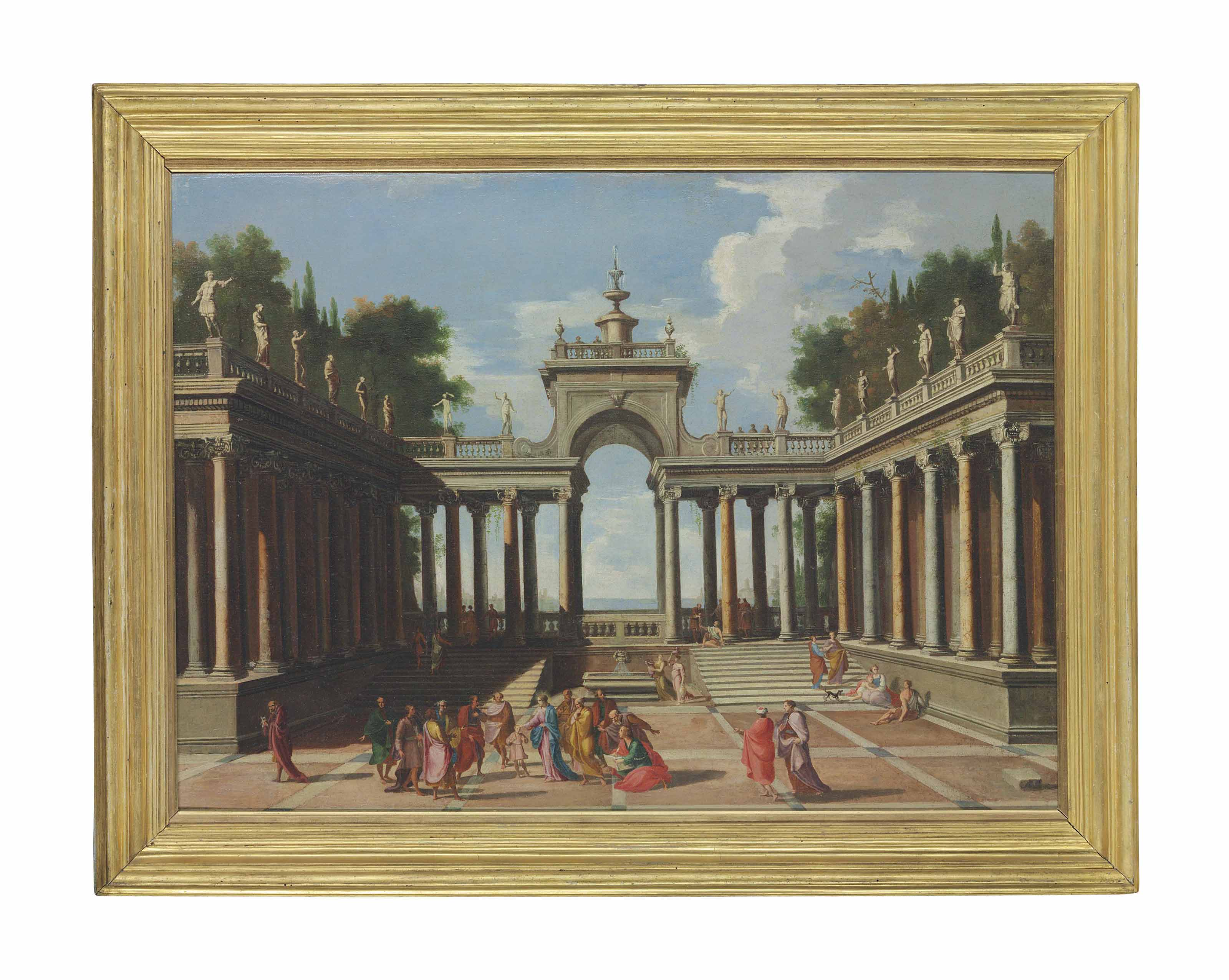 A capriccio of a palace courtyard with Christ blessing the Children