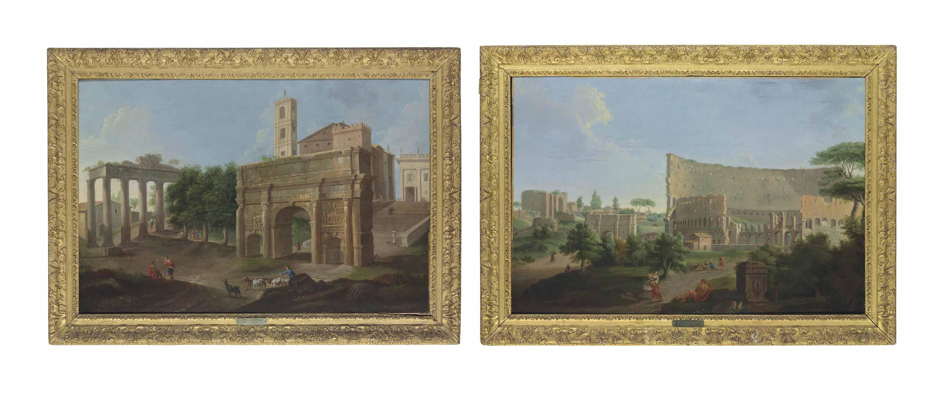 A Roman capriccio with the Colosseum and the Arch of Constantine; and A Roman capriccio with the Campo Vaccino, the Arch of Septimus Serverus, the Temple of Saturn and the Palazzo dei Senatori