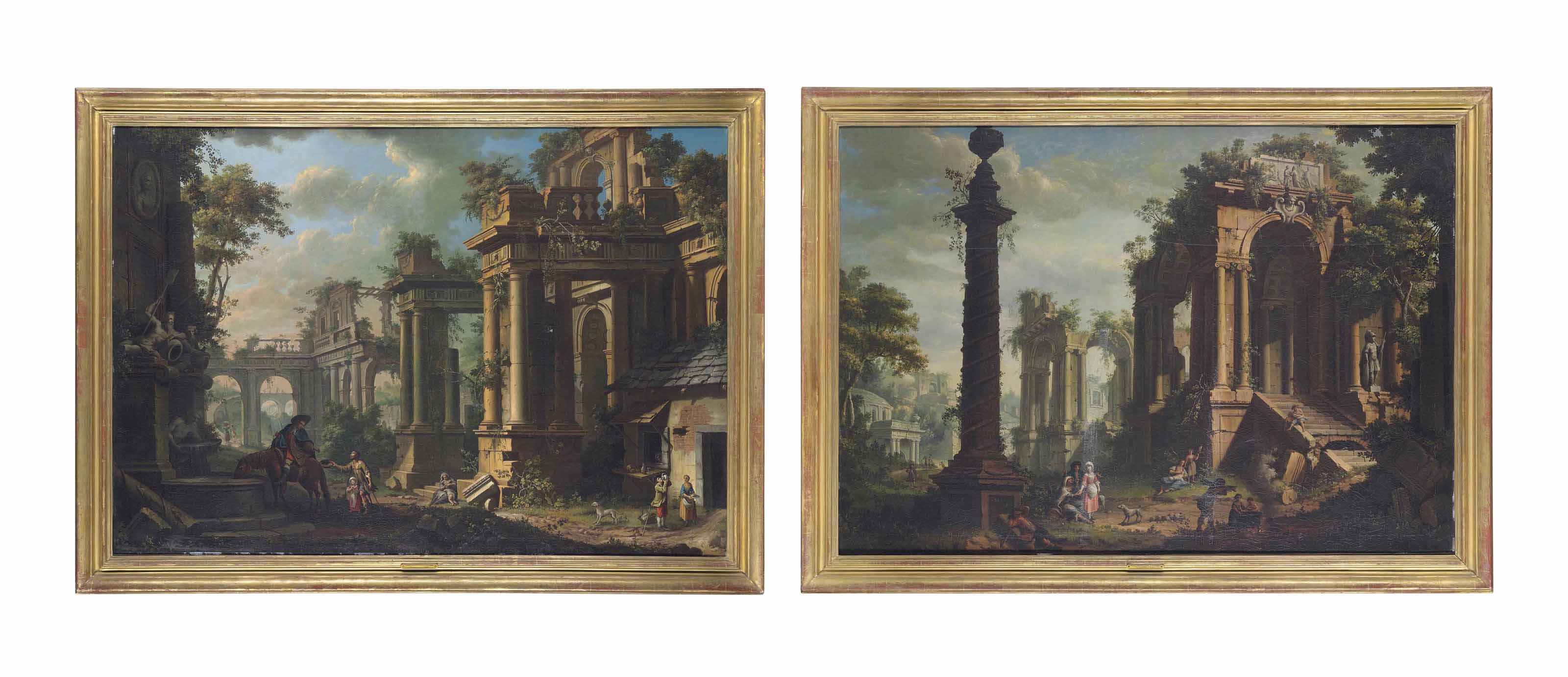 An architectural capriccio with a horseman and figures by a fountain; and An architectural capriccio with figures resting by a column